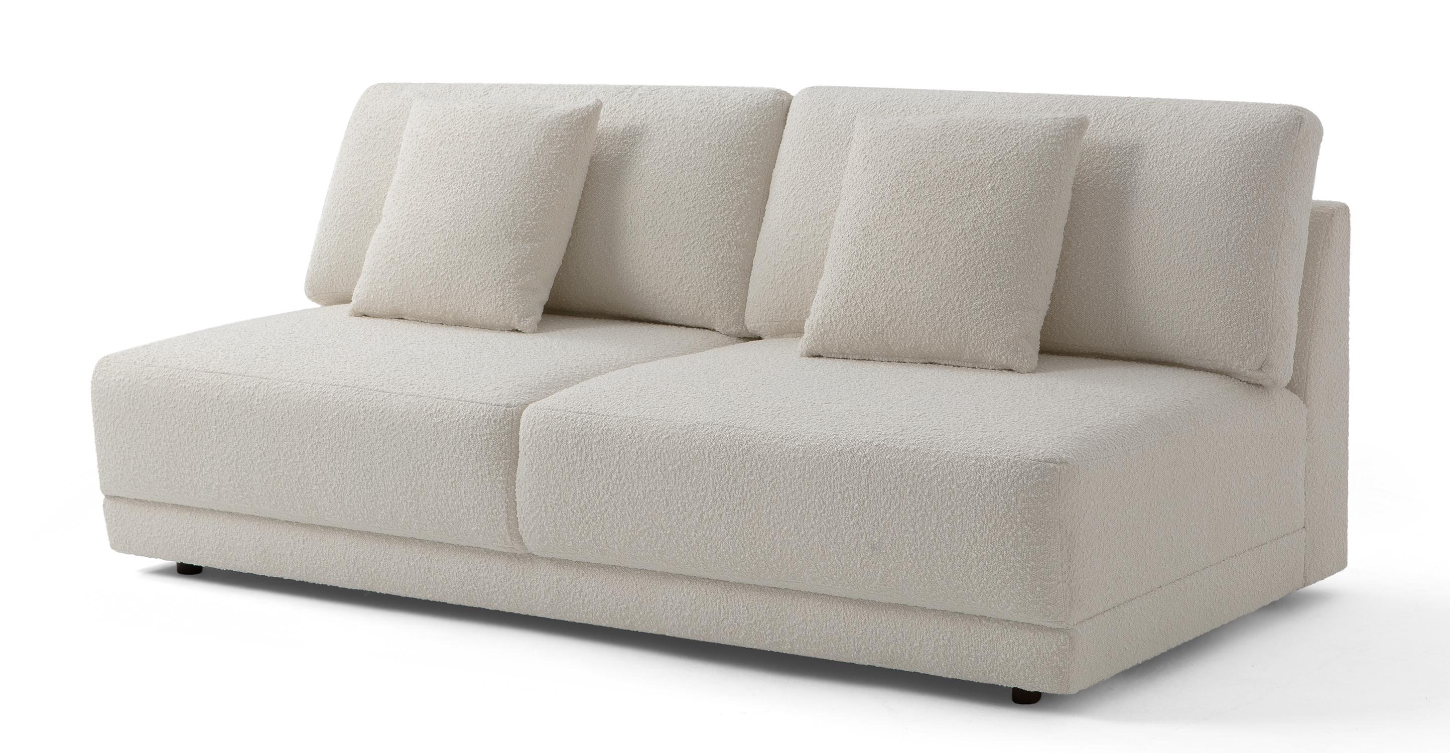 "Domus 77"" Fabric Armless Sofa, Blanc Boucle"