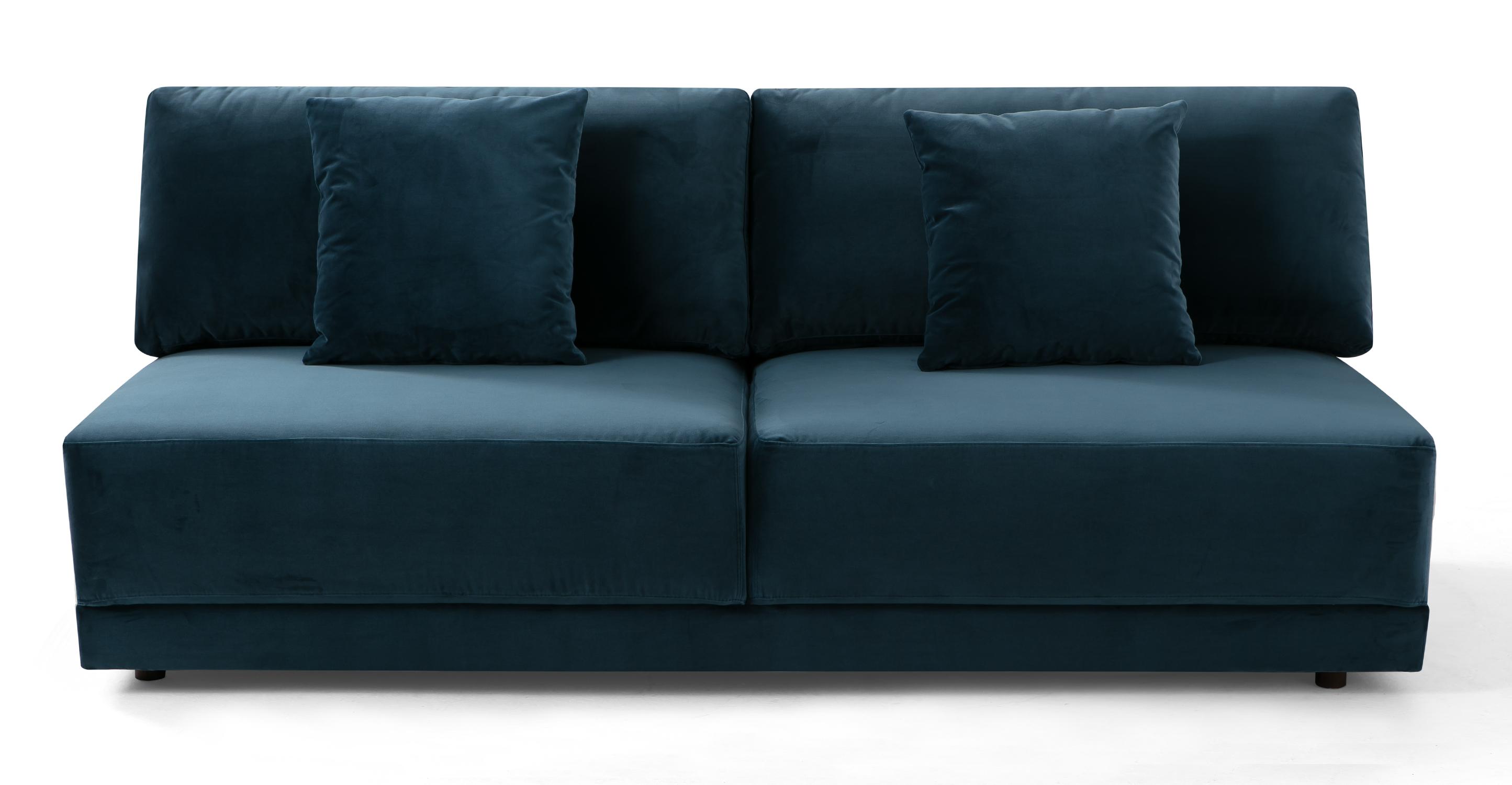 "Domus 77"" Fabric Armless Sofa, Petrol Velvet"