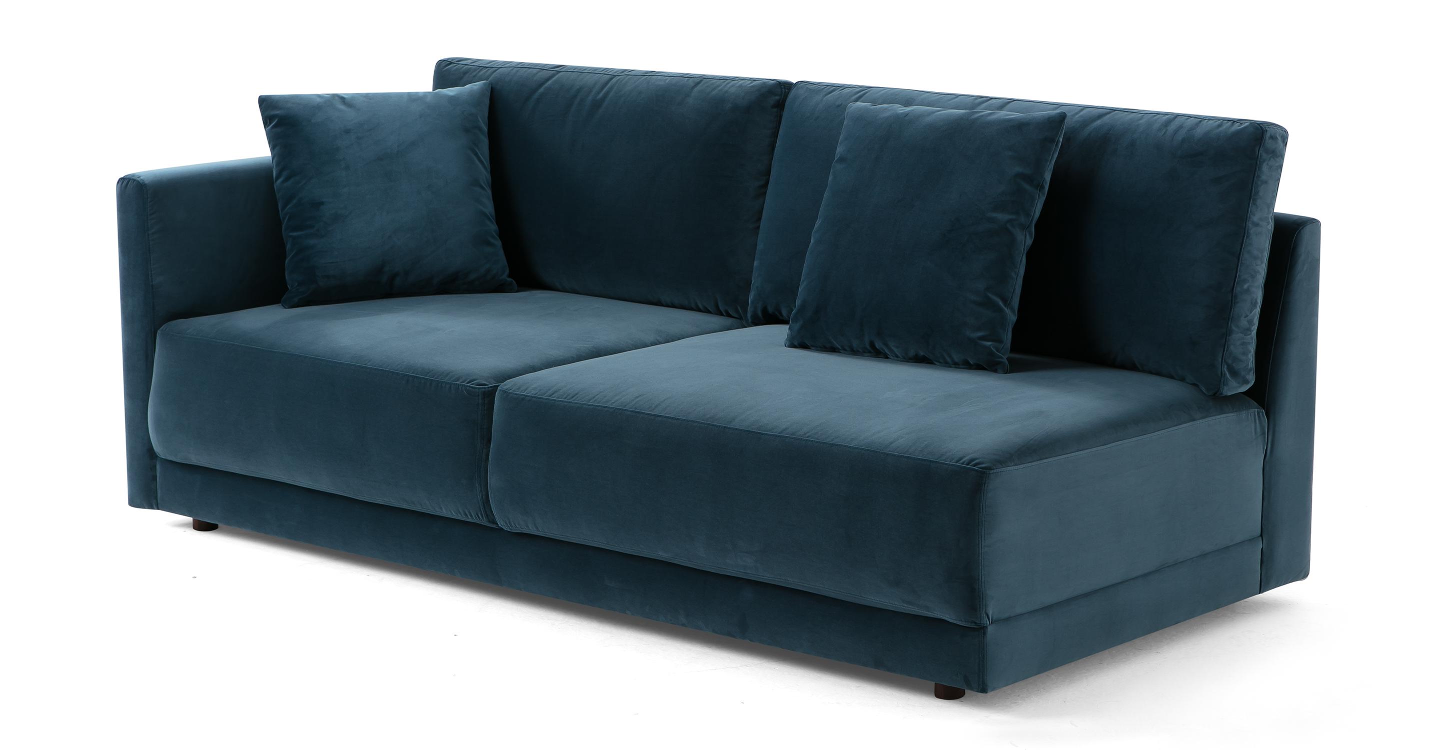 "Domus 77"" Left Arm Fabric Sofa, Petrol Velvet"