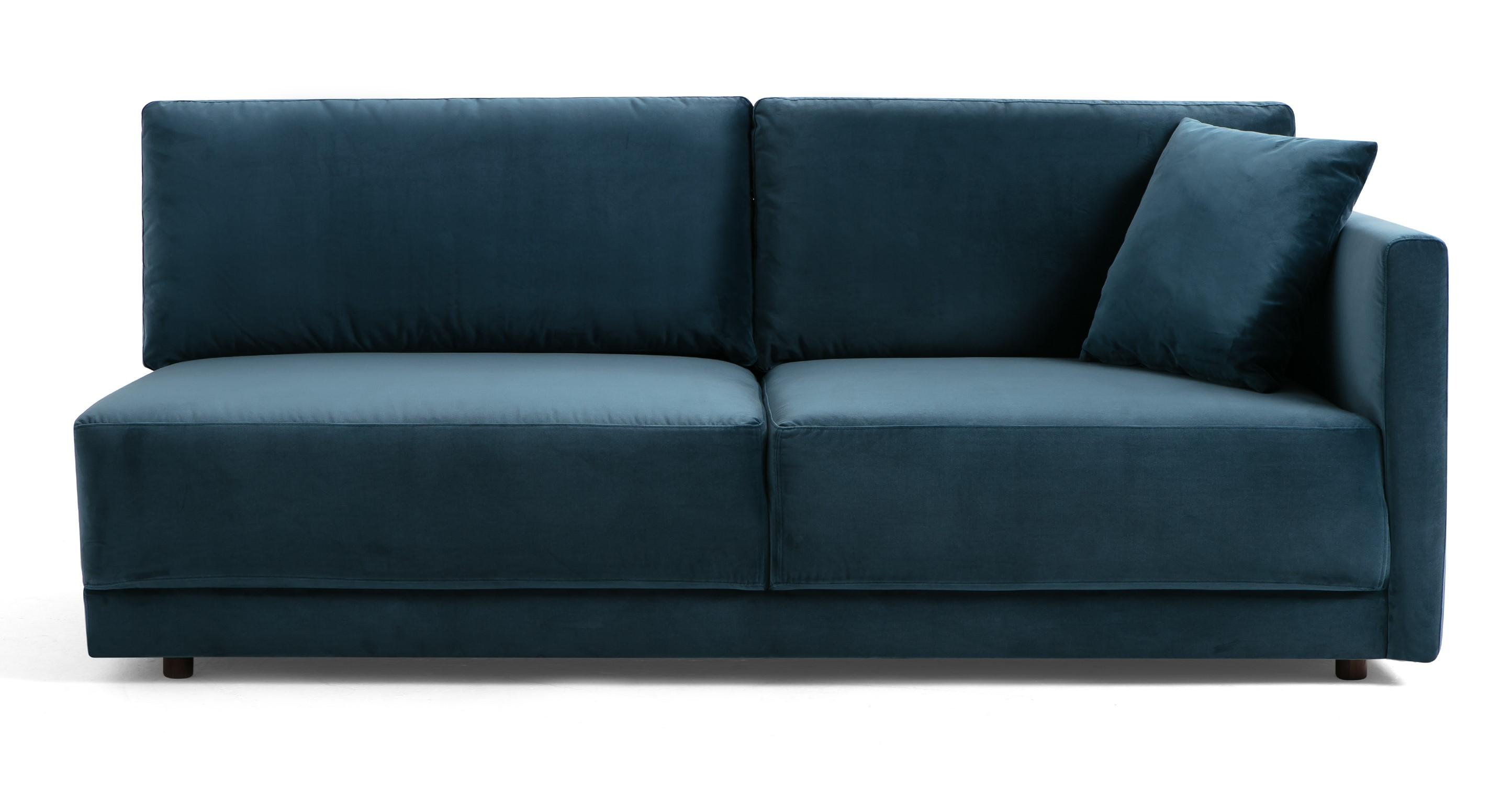 "Domus 77"" Right Arm Fabric Sofa, Petrol Velvet"