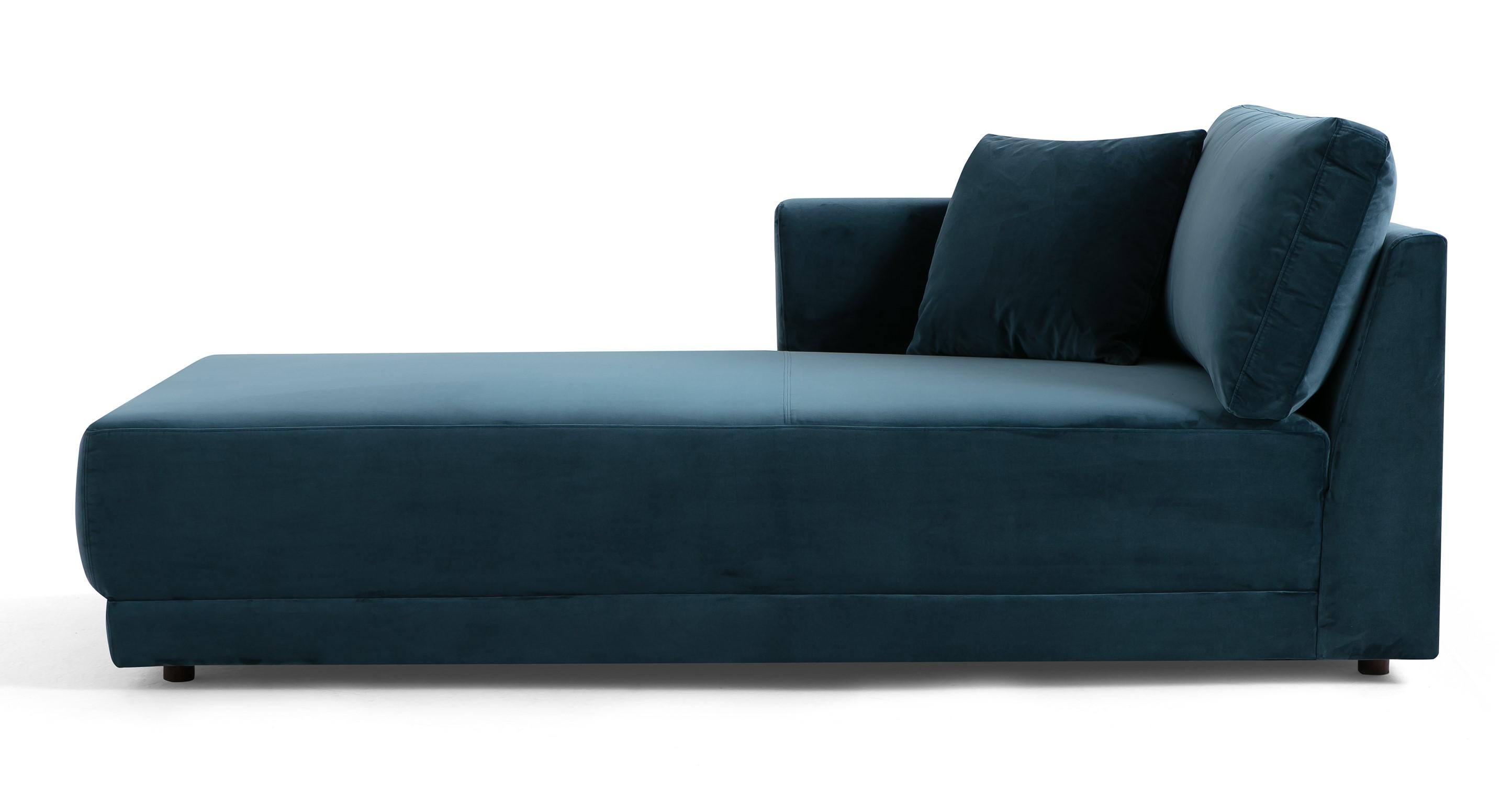 """Domus 39"""" Left Chaise Fabric Sofa, Petrol Velvet"""
