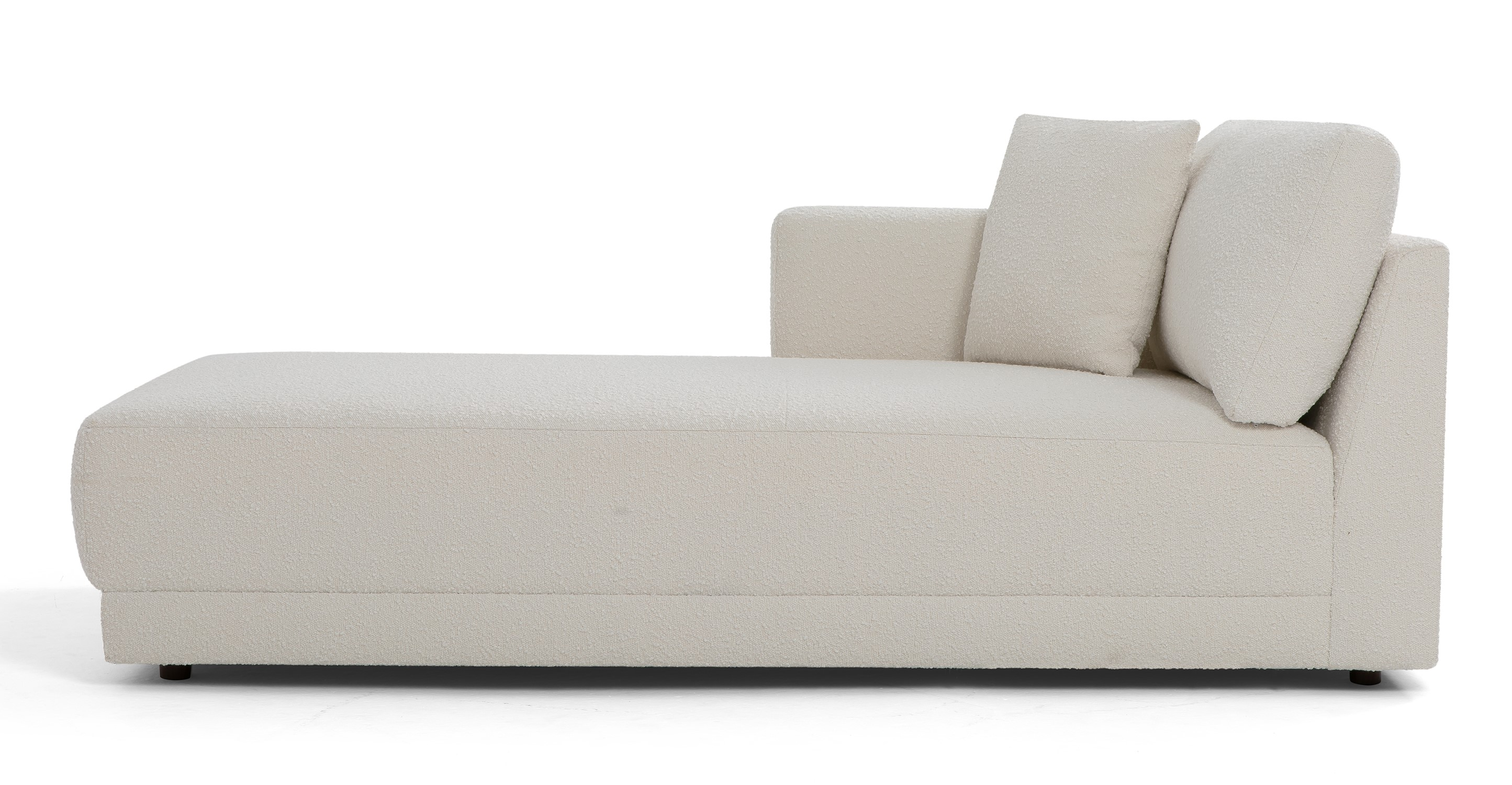 "Domus 39"" Left Chaise Fabric Sofa, Blanc Boucle"