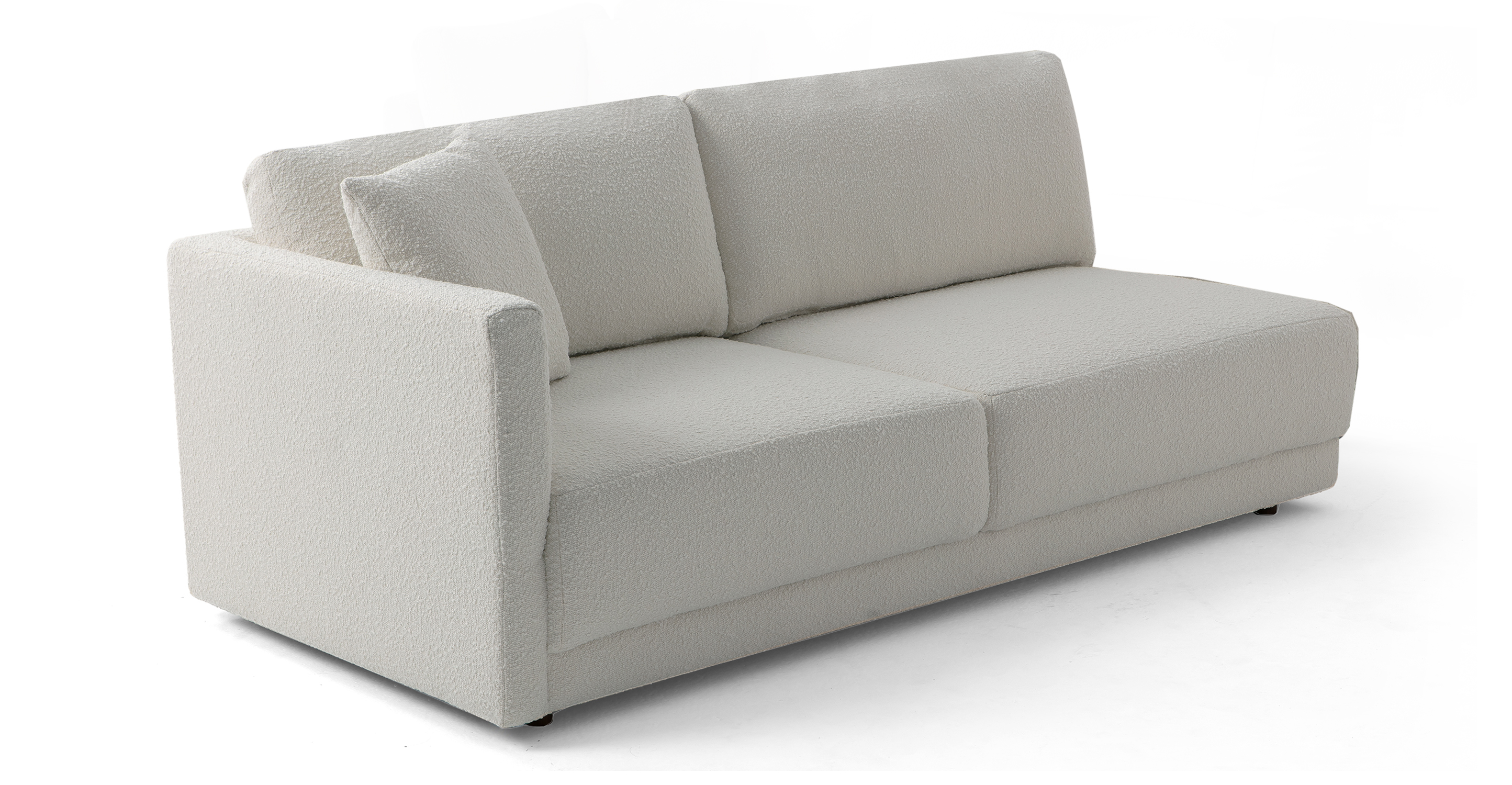 "Domus 77"" Left Arm Fabric Sofa, Blanc Boucle"