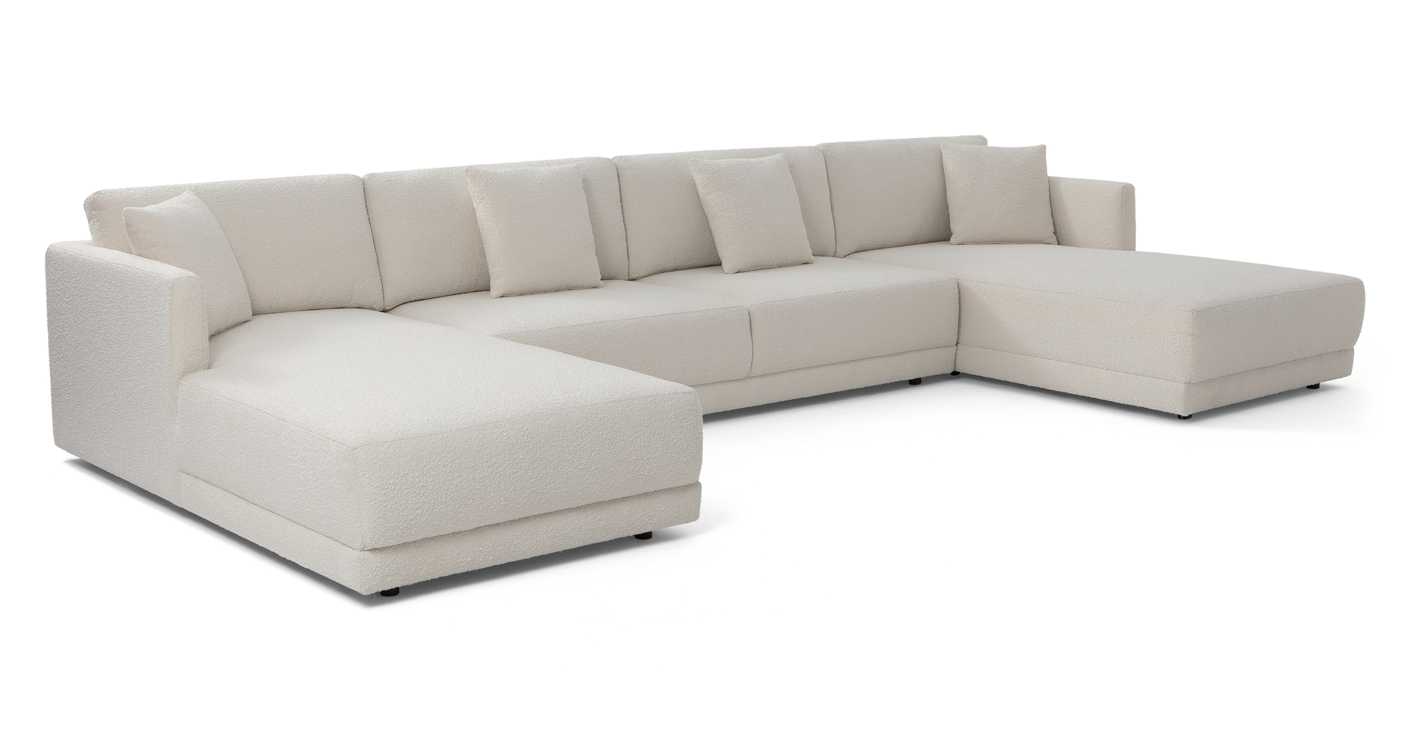"Domus 155"" 3-pc U-Chaise Sofa Sectional, Blanc Boucle"