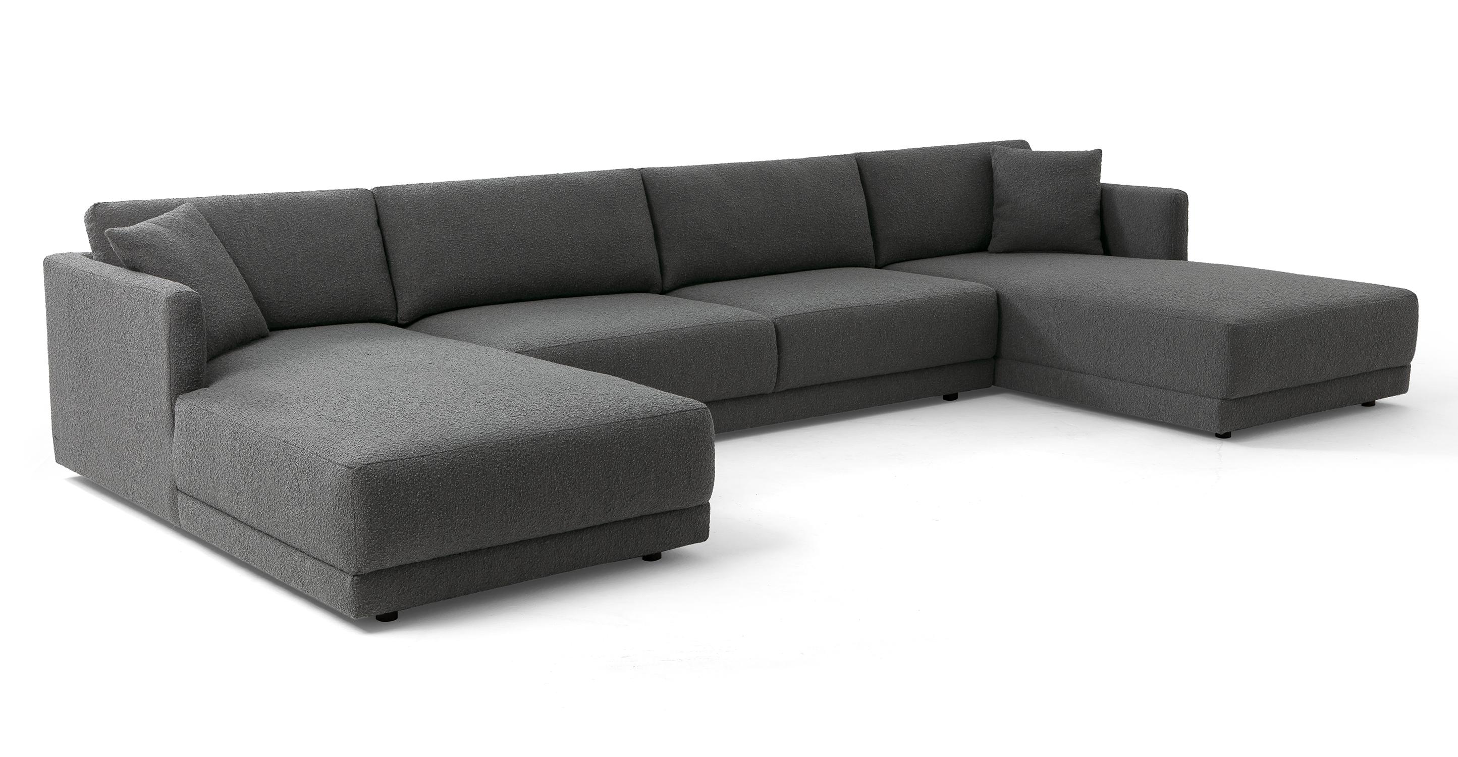 "Domus 155"" 3-pc U-Chaise Sofa Sectional, Gris Boucle"