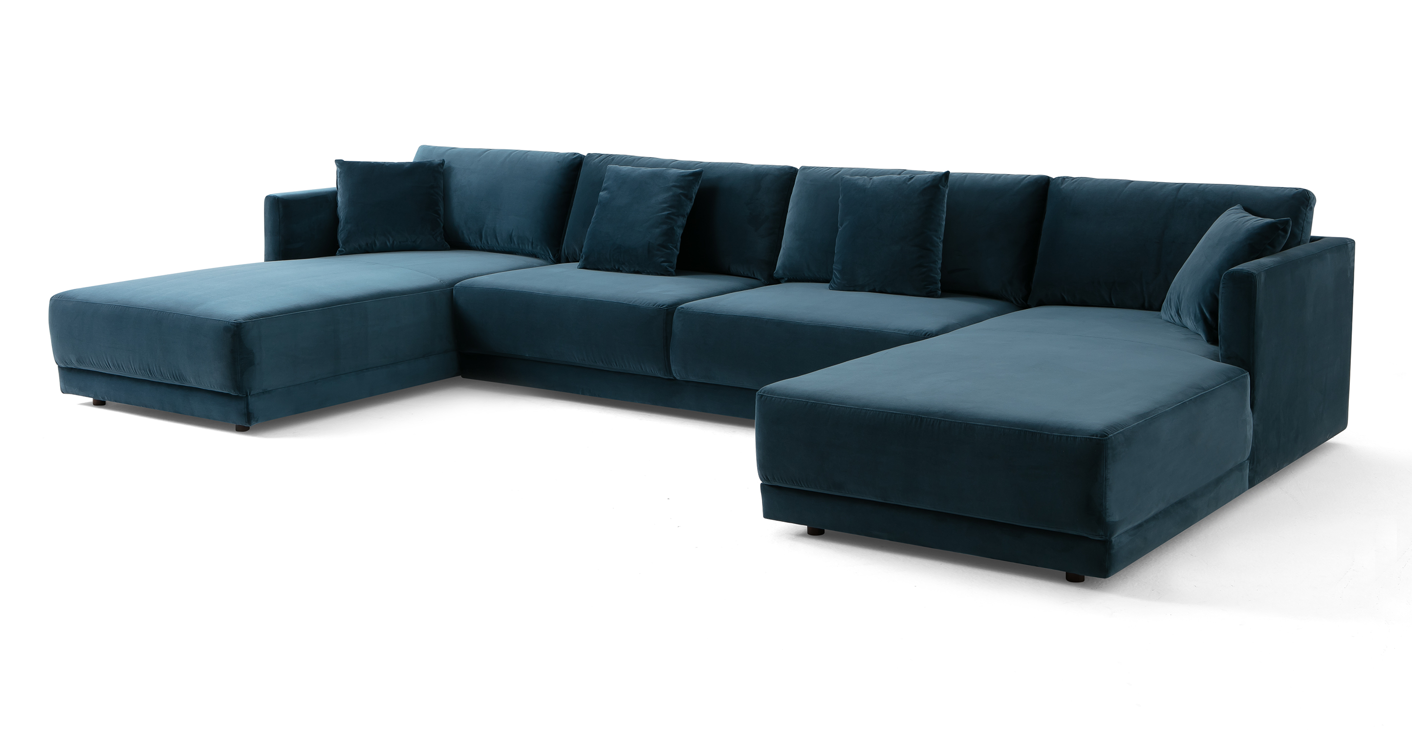 "Domus 155"" 3-pc U-Chaise Sofa Sectional, Petrol Velvet"