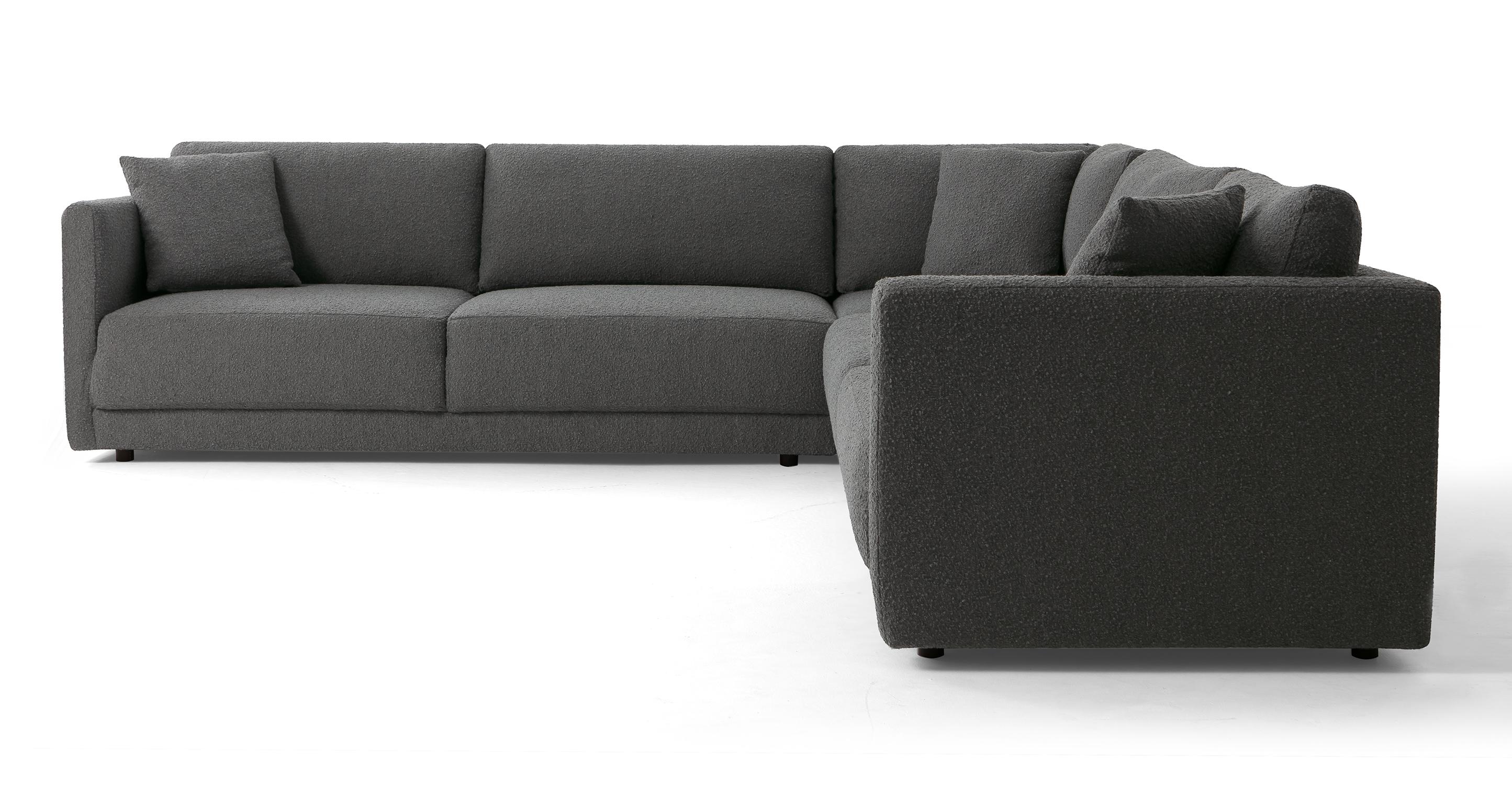 """Domus 116"""" 3-pc L Corner Sofa Sectional, Gris Boucle"""
