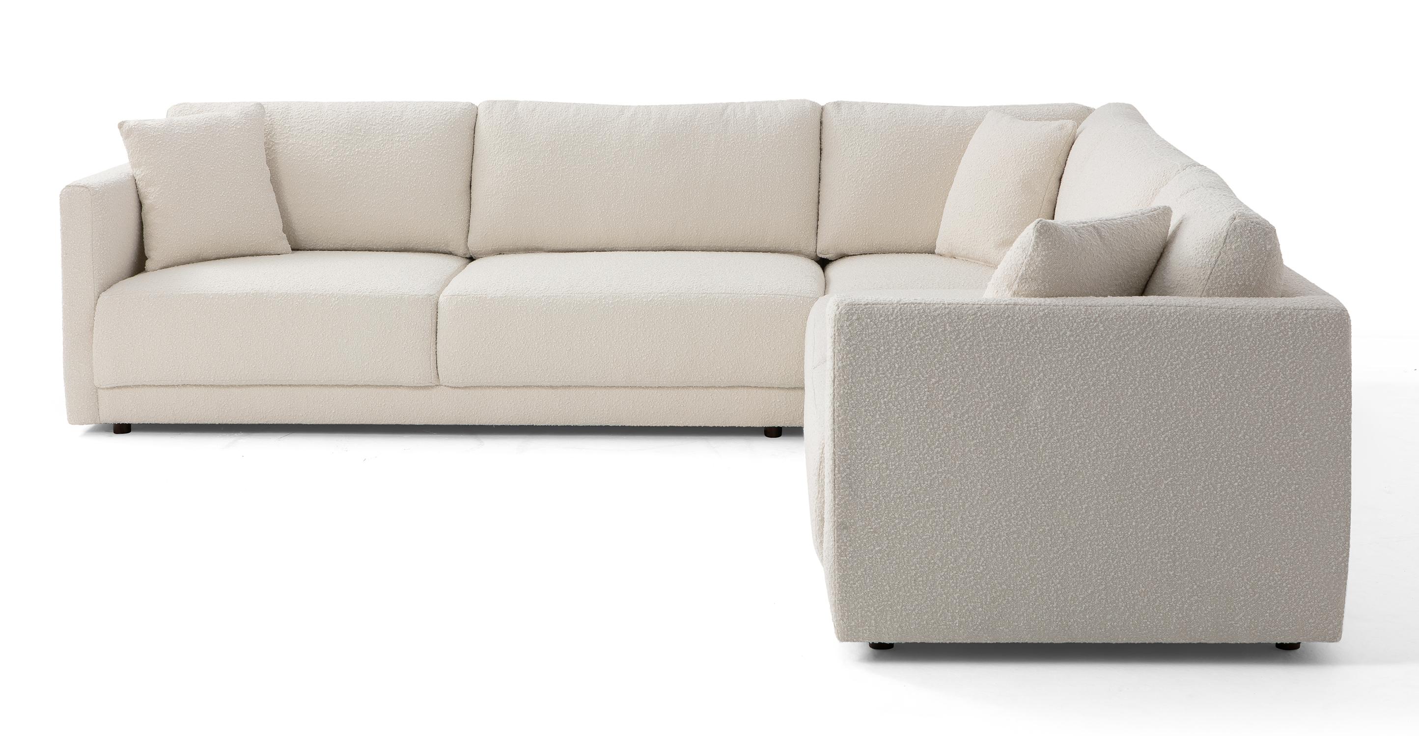 "Domus 116"" 3-pc L Corner Sofa Sectional, Blanc Boucle"