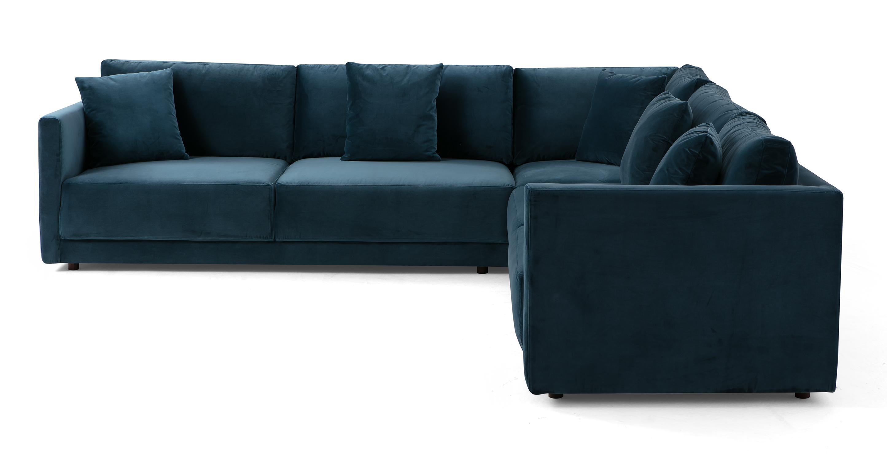 """Domus 116"""" 3-pc L Corner Sofa Sectional, Petrol Velvet"""