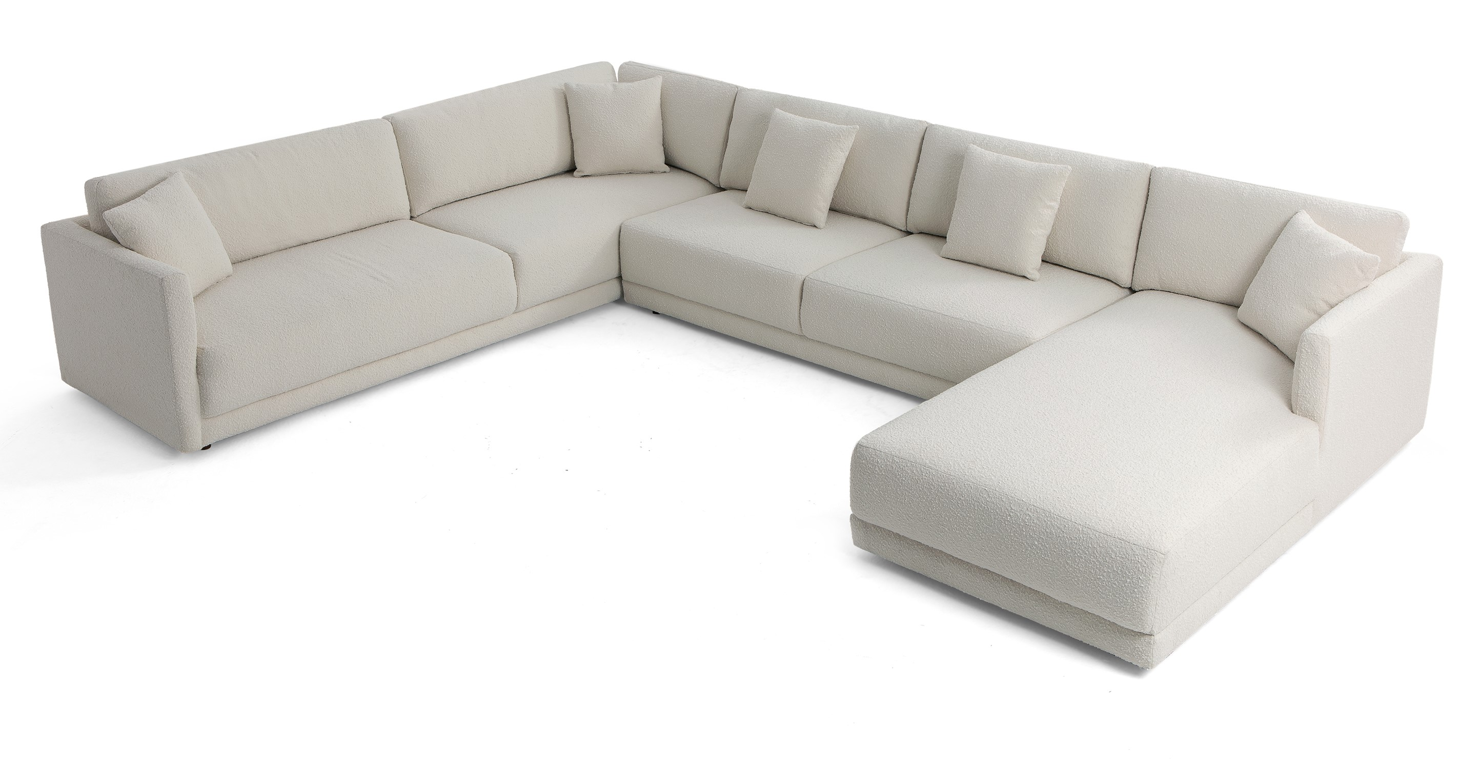 "Domus 155"" 3-pc 3-Sided Sofa Sectional Right, Blanc Boucle"