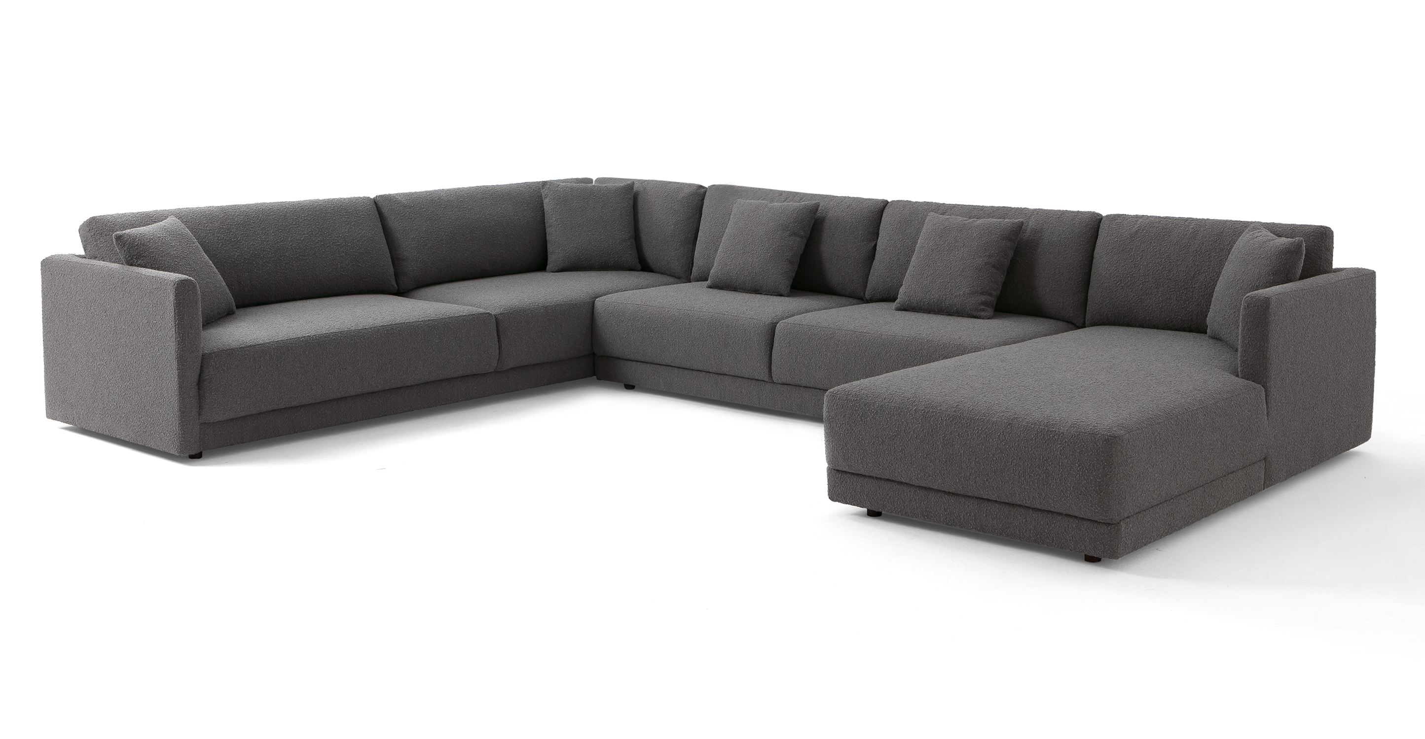 """Domus 155"""" 3-pc 3-Sided Sofa Sectional Right, Gris Boucle"""