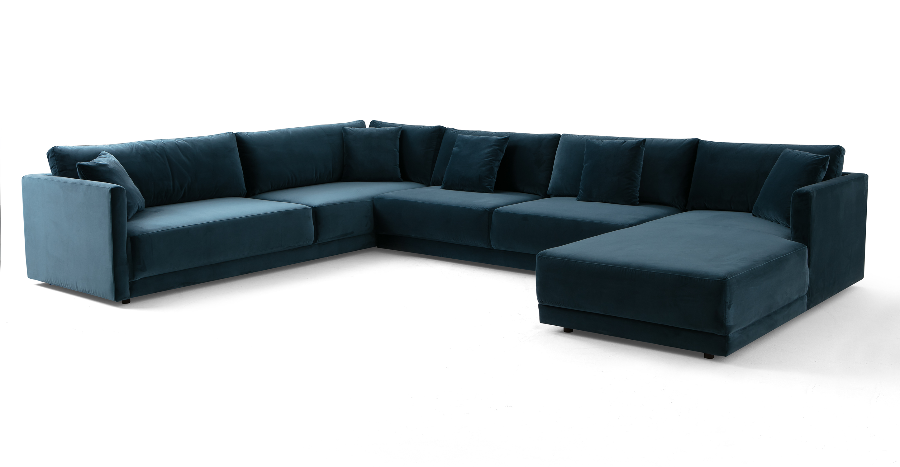 "Domus 155"" 3-pc 3-Sided Sofa Sectional Right, Petrol Velvet"