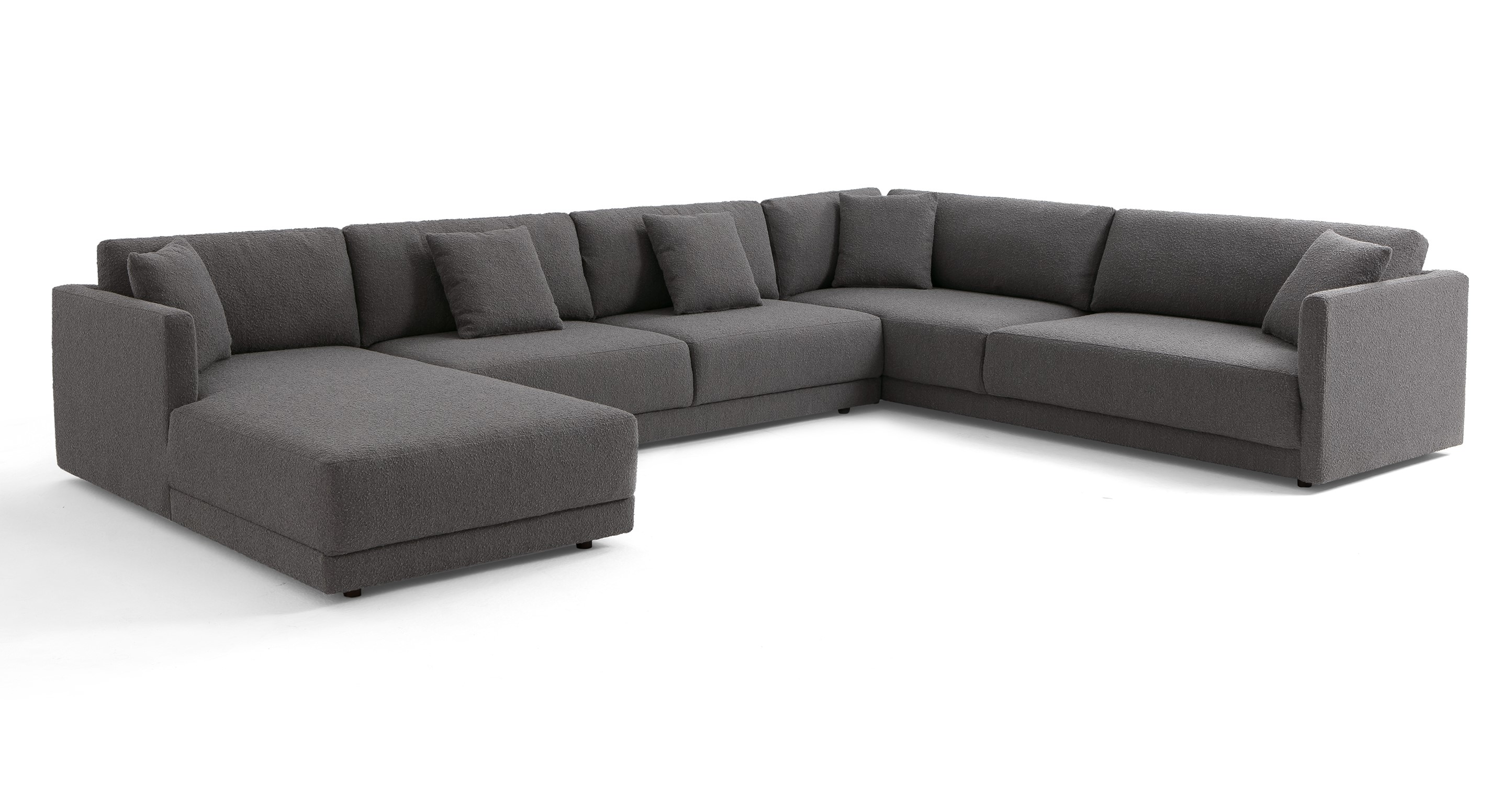 "Domus 155"" 3-pc 3-Sided Sofa Sectional Left, Gris Boucle"