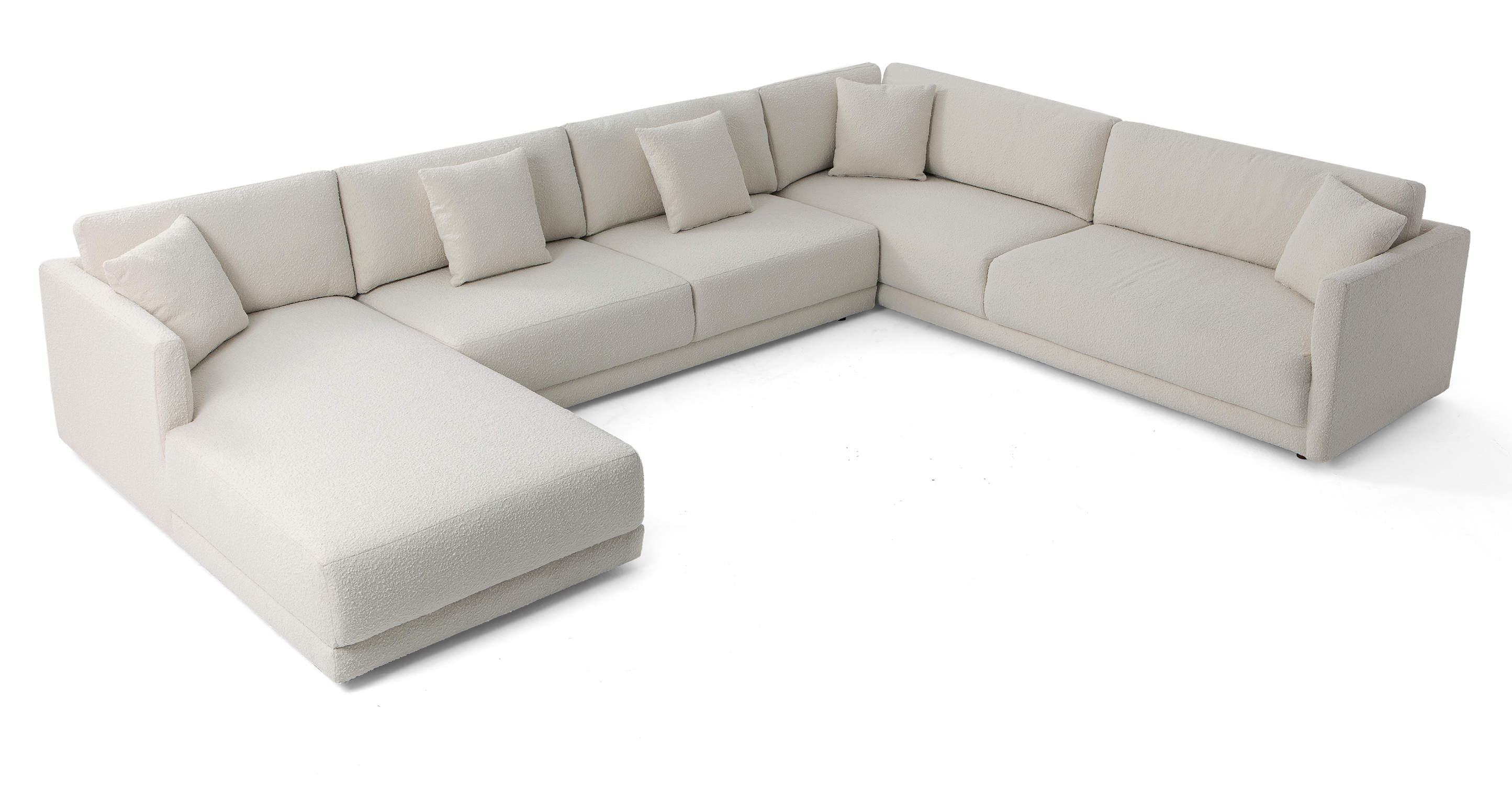 "Domus 155"" 3-pc 3-Sided Sofa Sectional Left, Blanc Boucle"