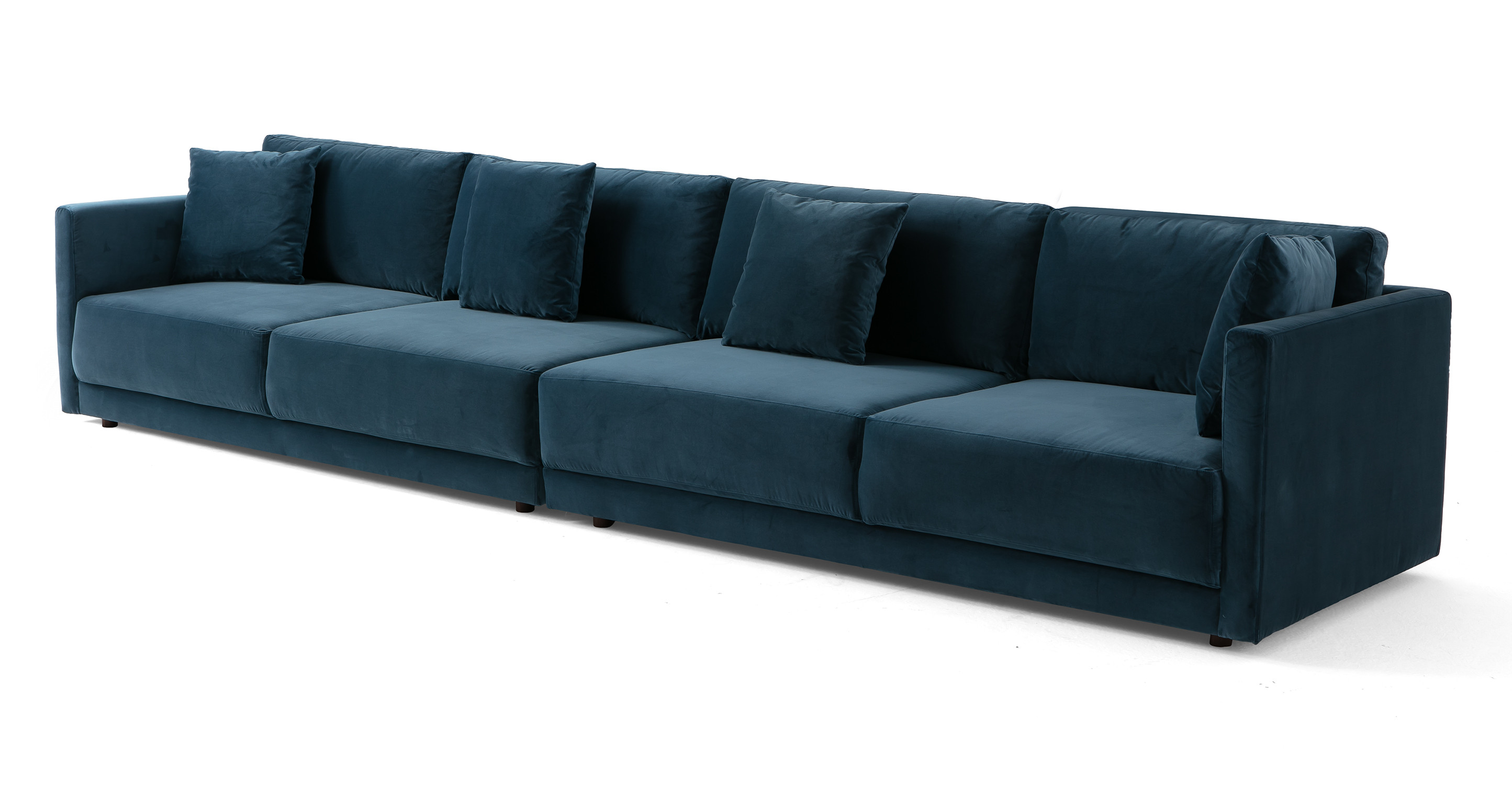 "Domus 154"" 2-pc Long Sofa Sectional, Petrol Velvet"