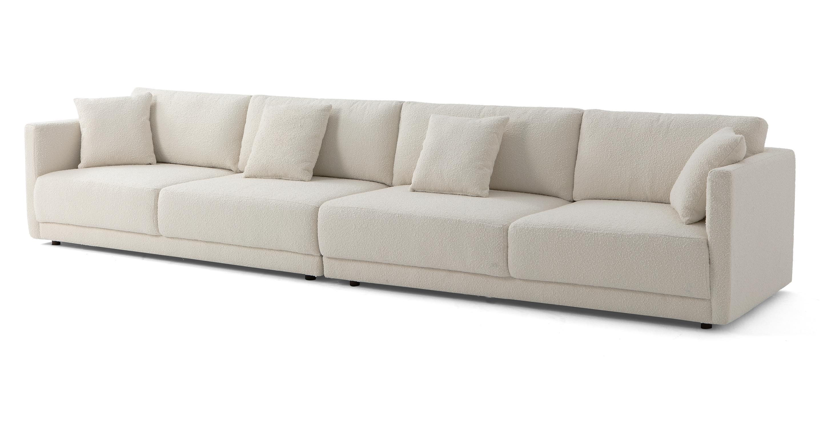 "Domus 154"" 2-pc Long Sofa Sectional, Blanc Boucle"