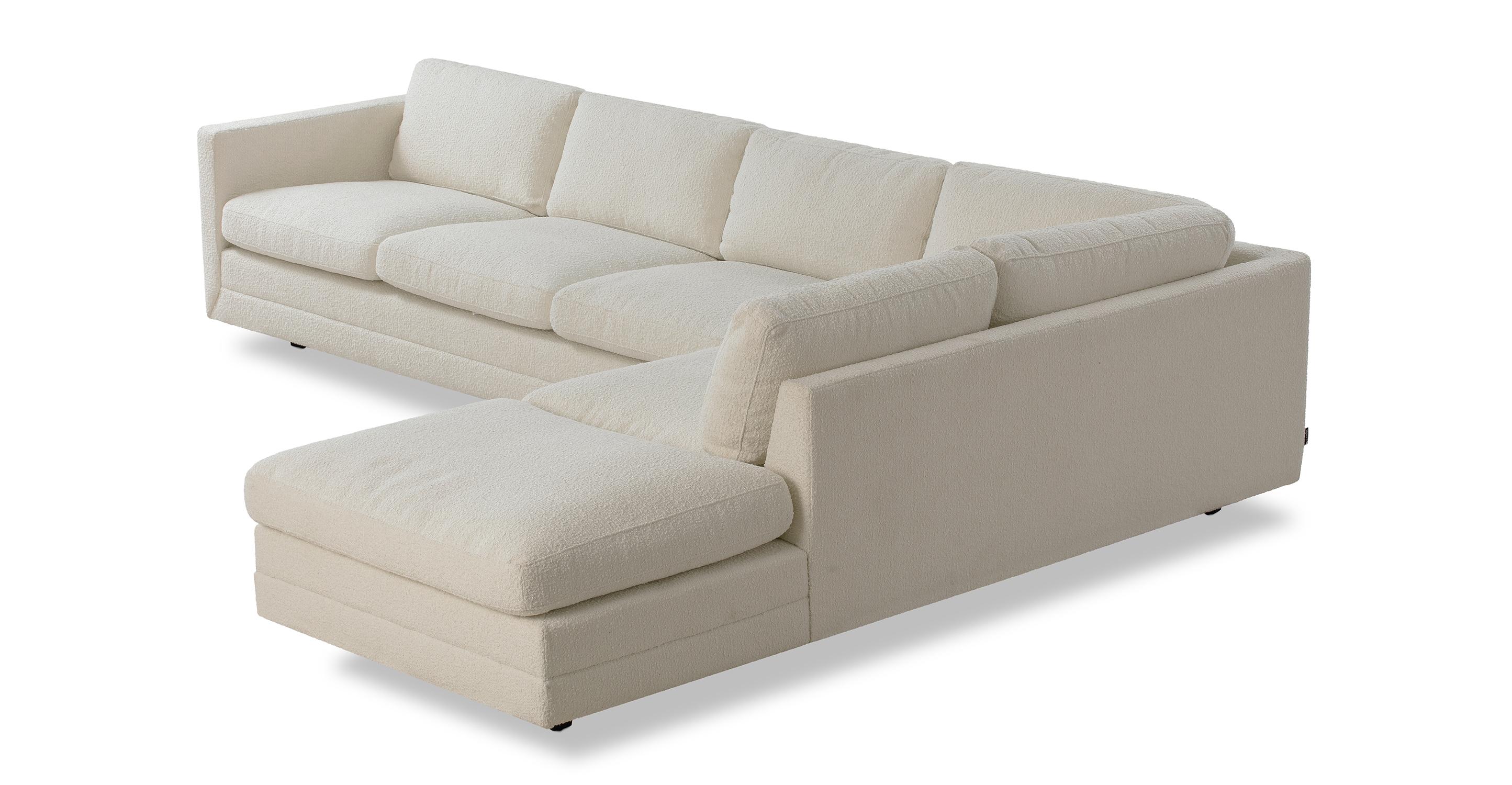"Manhattan 129"" Fabric Sofa Sectional Right, Cream Boucle"