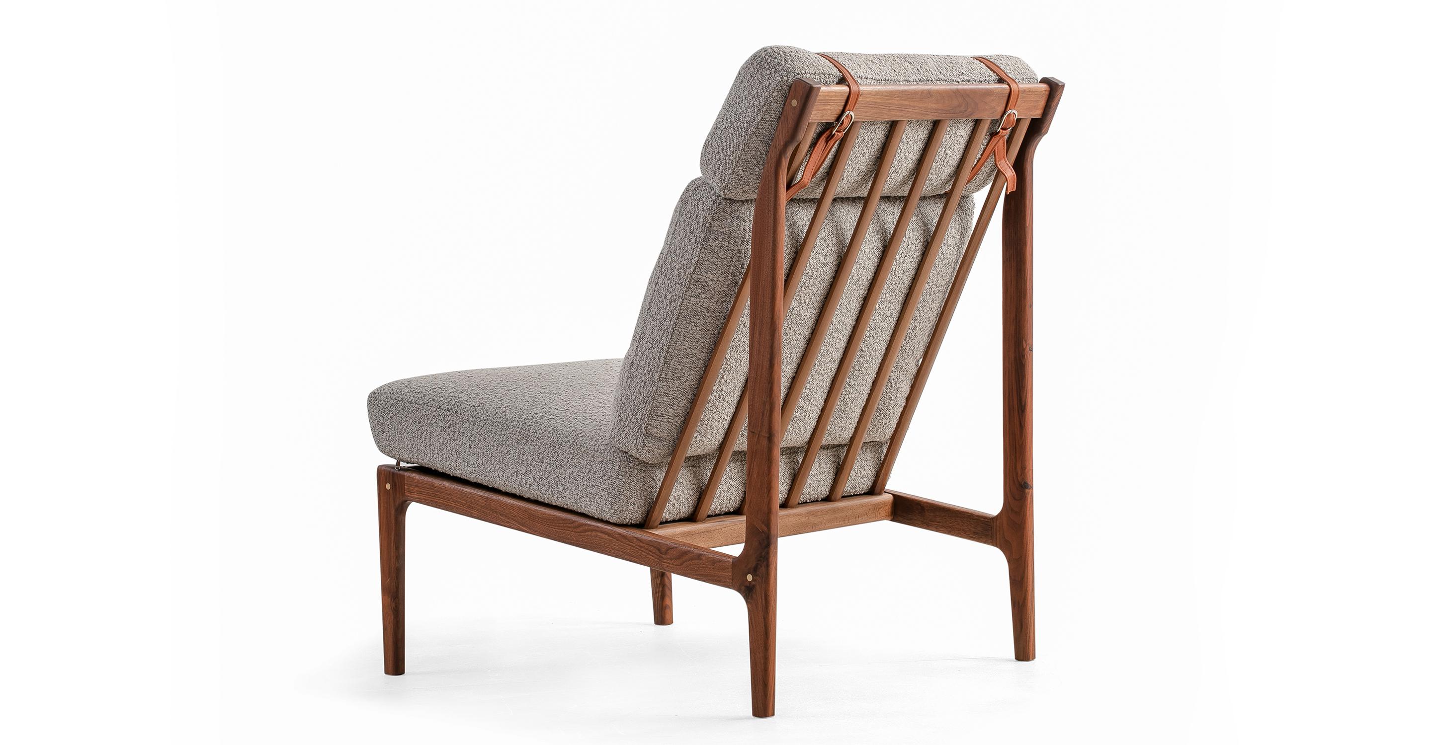 "Boone 26"" Fabric Chair, Walnut/Altro Boucle"