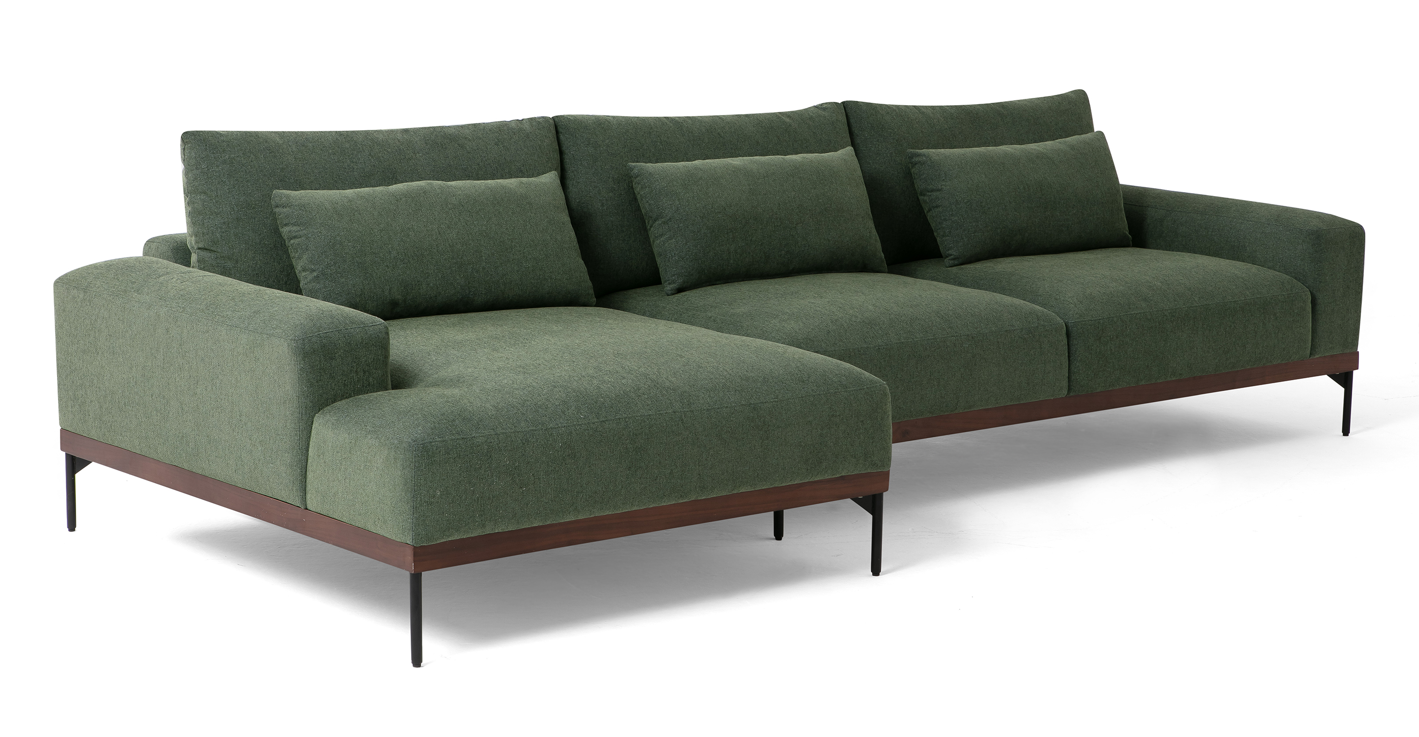 """Tate 122"""" Fabric Sofa Sectional Left, Thyme"""