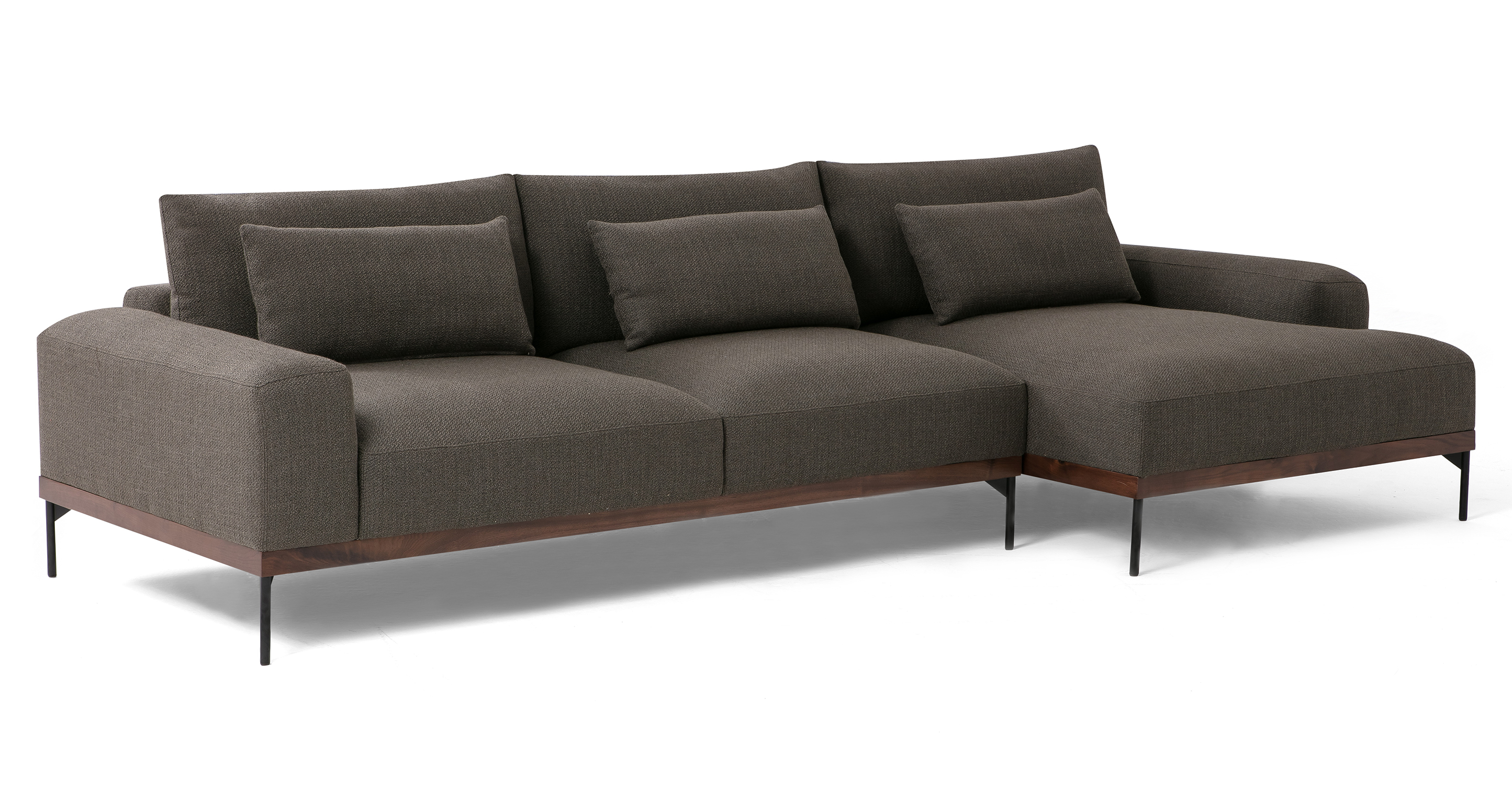 """Tate 122"""" Fabric Sofa Sectional Right, Nuit Boucle"""