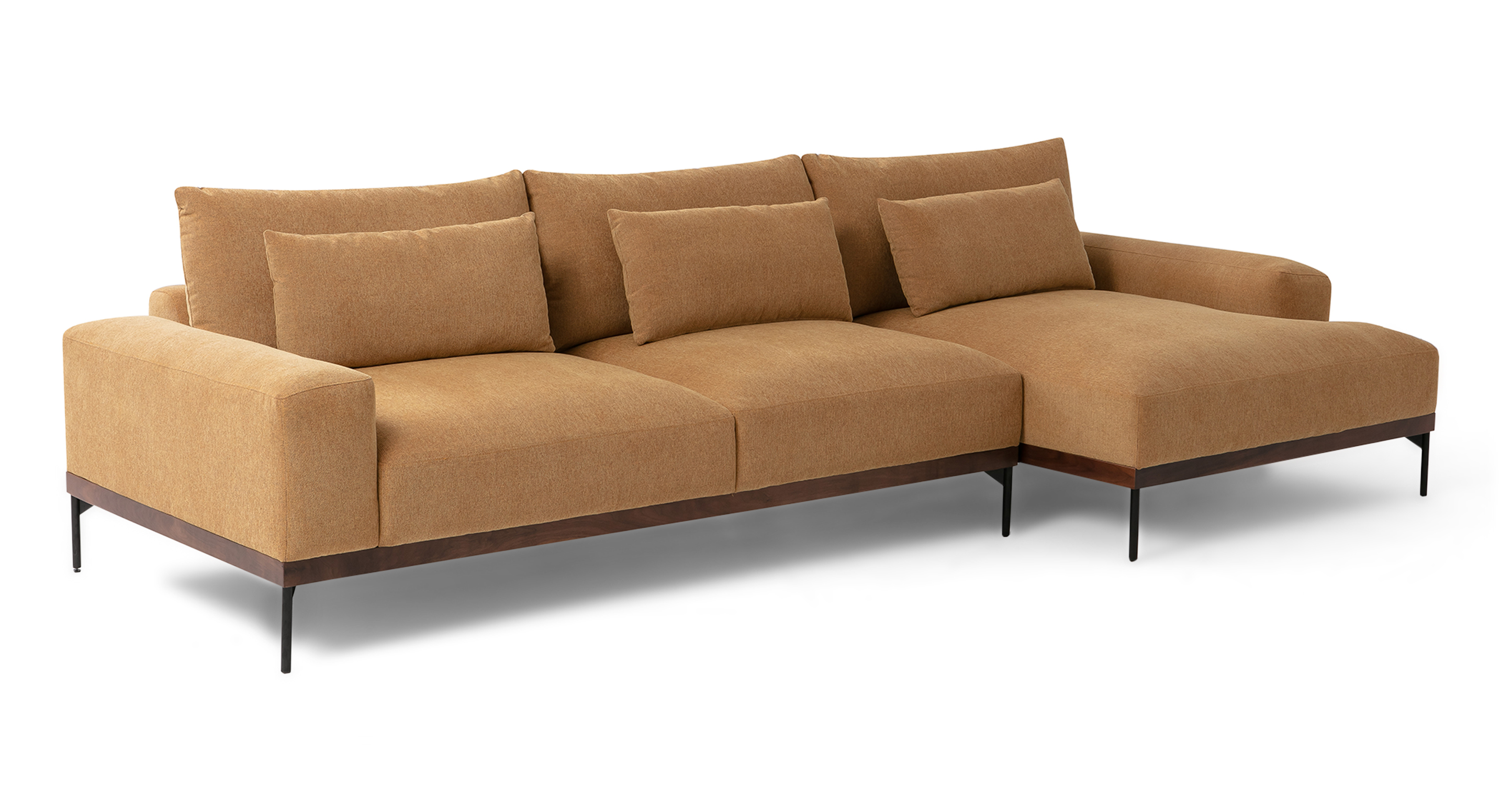 "Tate 122"" Fabric Sofa Sectional Right, Cumin"