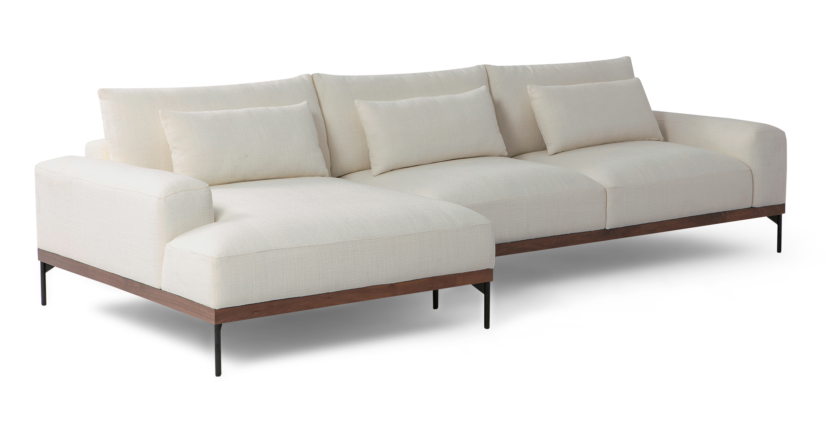 """Tate 122"""" Fabric Sofa Sectional Left, Jour Boucle"""