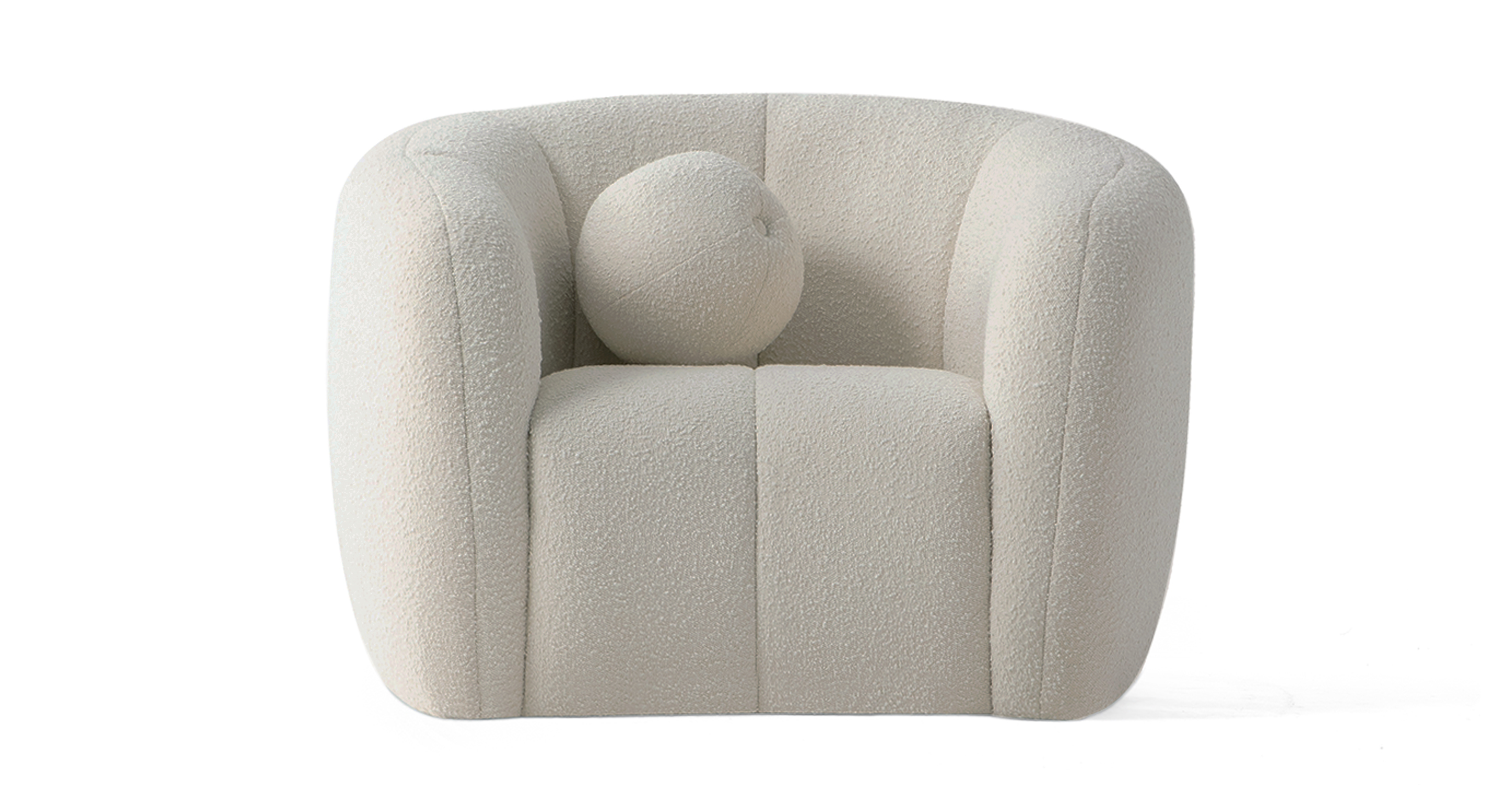"Alexis 45"" Fabric Chair, Blanc Boucle"