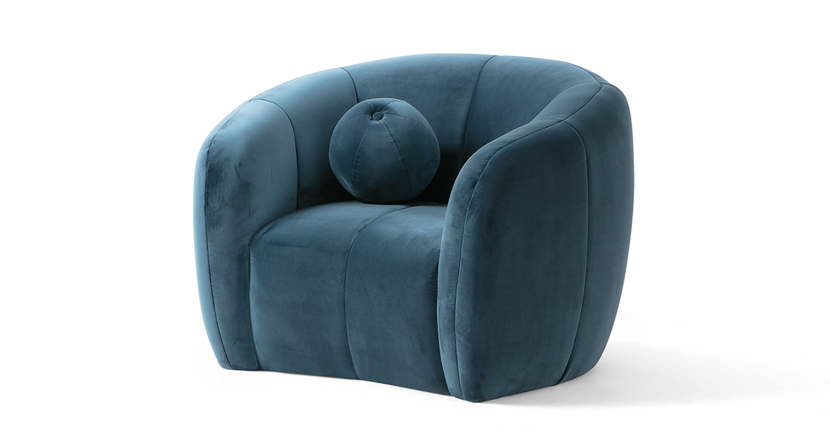 "Alexis 45"" Fabric Chair, Petrol Velvet"