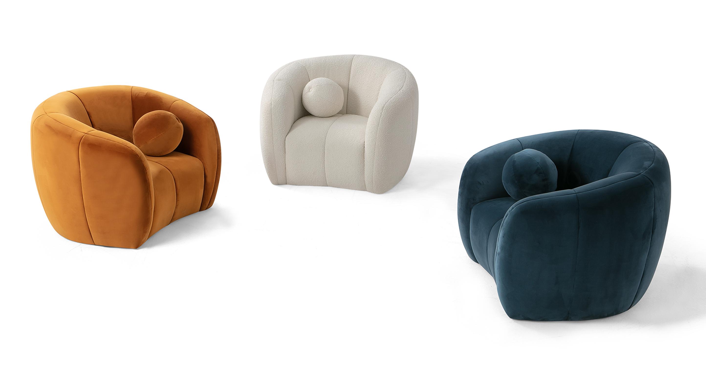 """Alexis 45"""" Fabric Chair, Ember Velvet"""