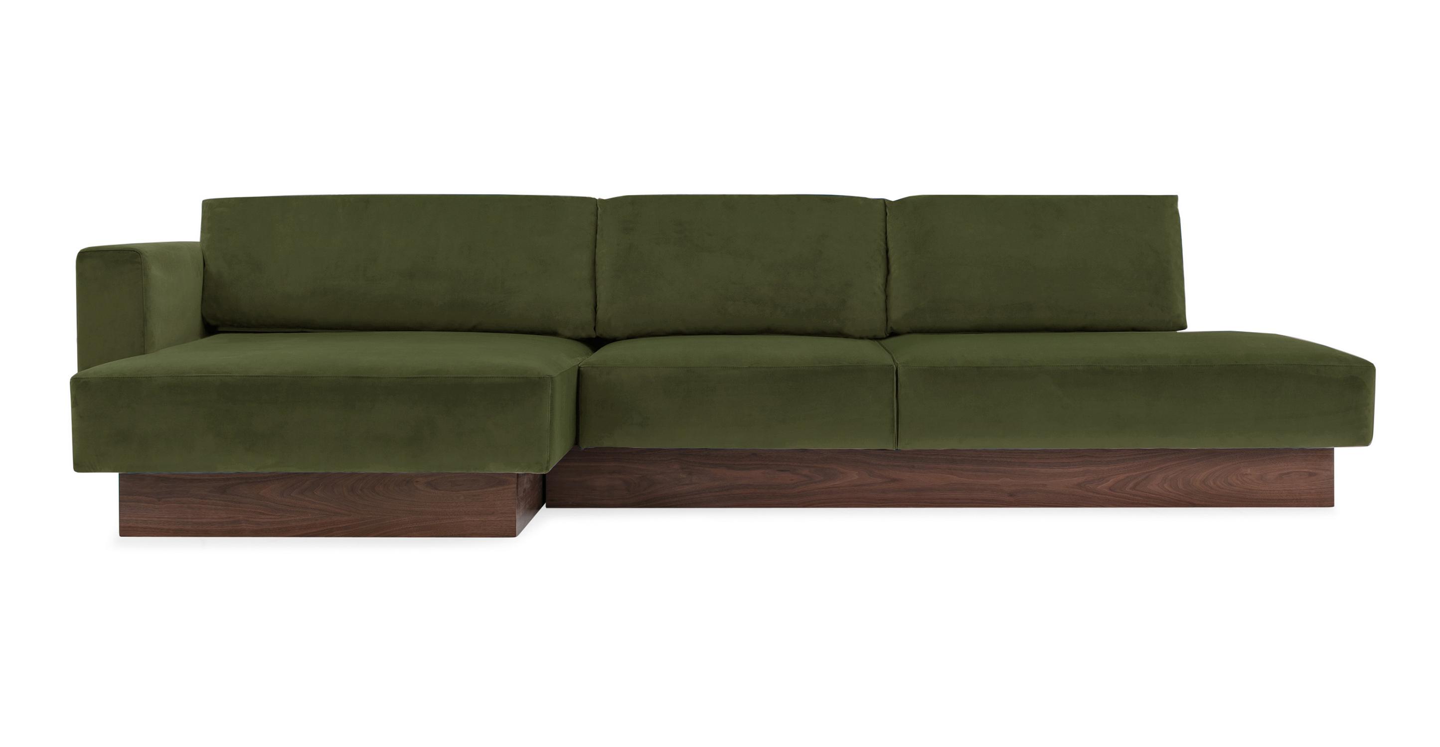 """Brady 128"""" Fabric Sofa Sectional Left, Fern Velvet"""