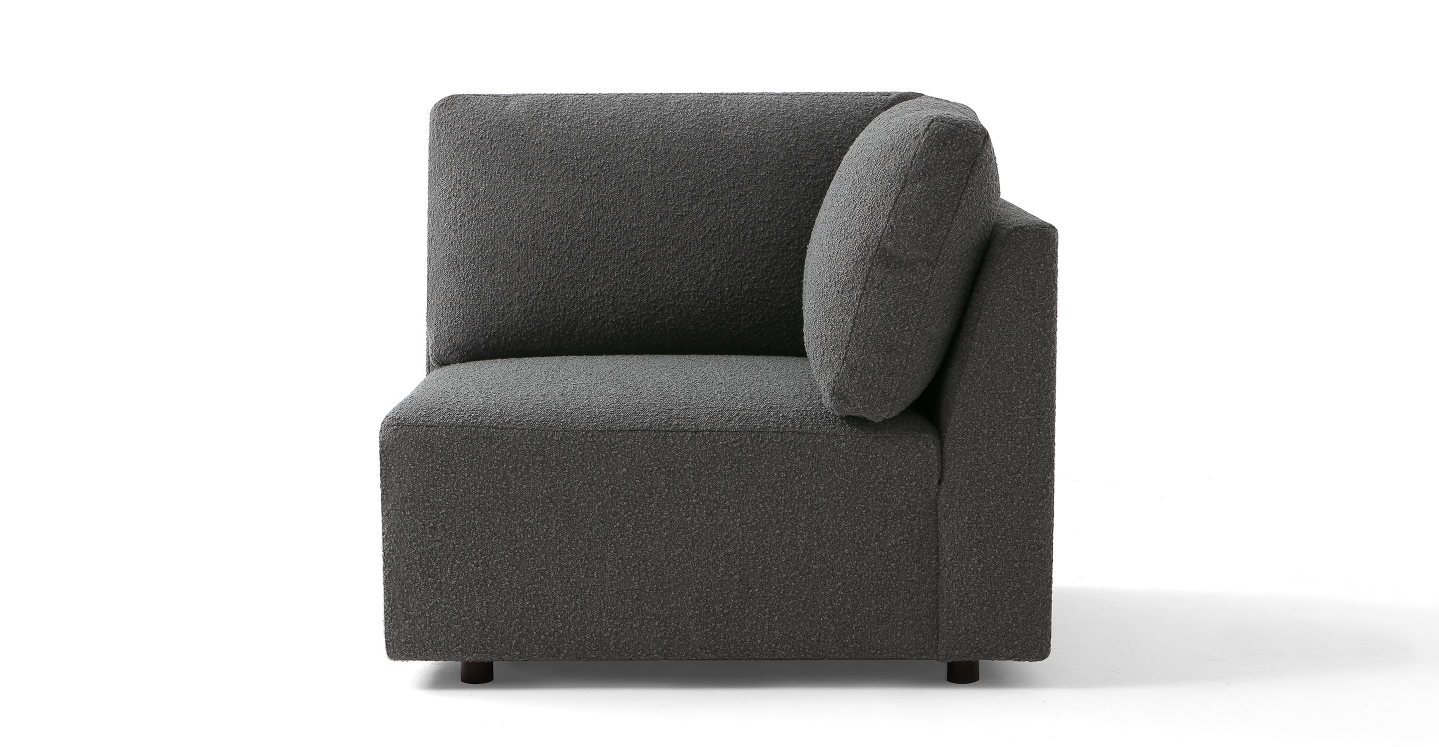 "Domus 39"" Fabric Corner Seat Sofa, Gris Boucle"