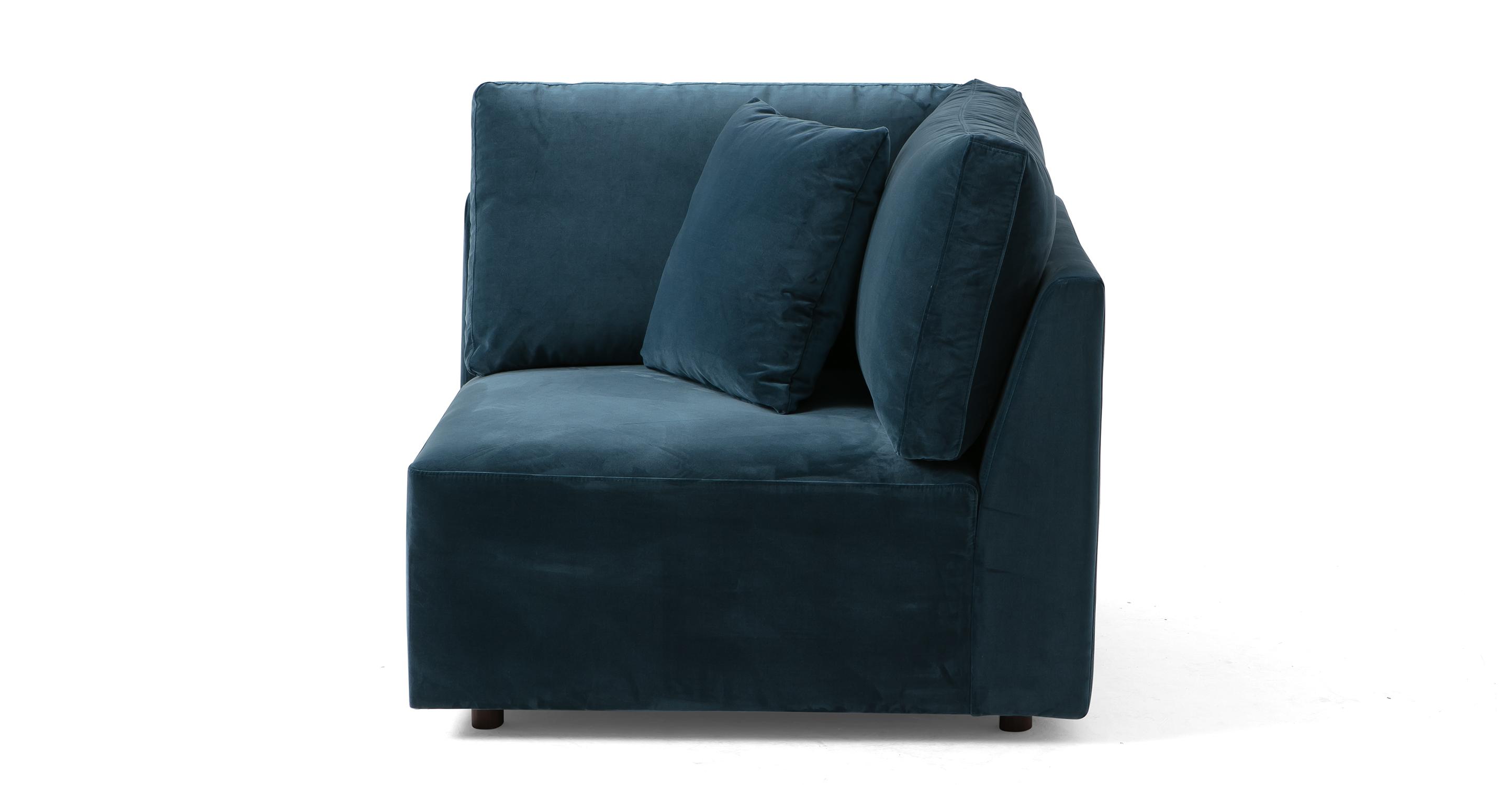 """Domus 39"""" Fabric Corner Seat Sofa, Petrol Velvet"""