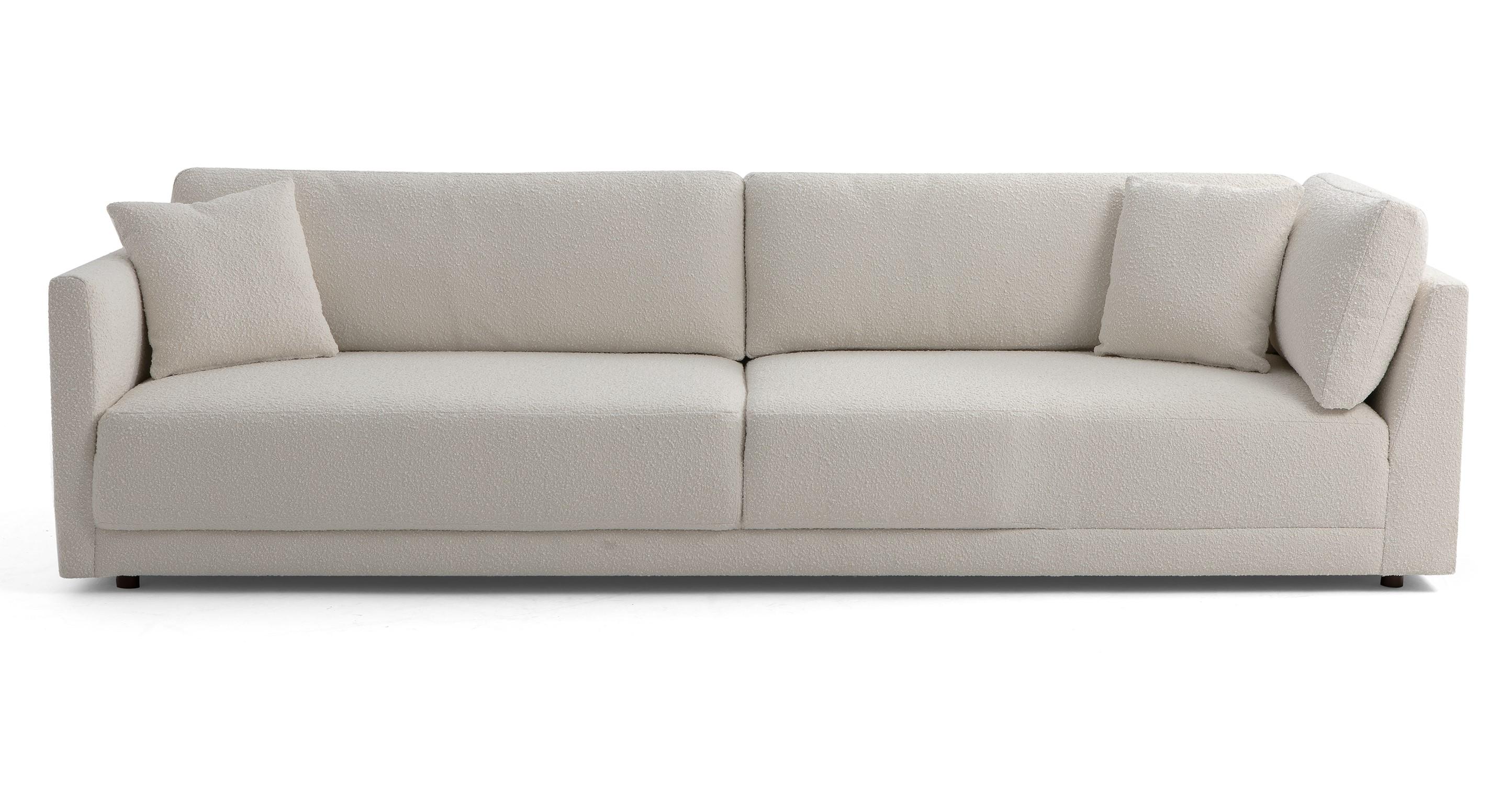 "Domus 114"" Fabric Sofa Lounge Arm Right, Blanc Boucle"