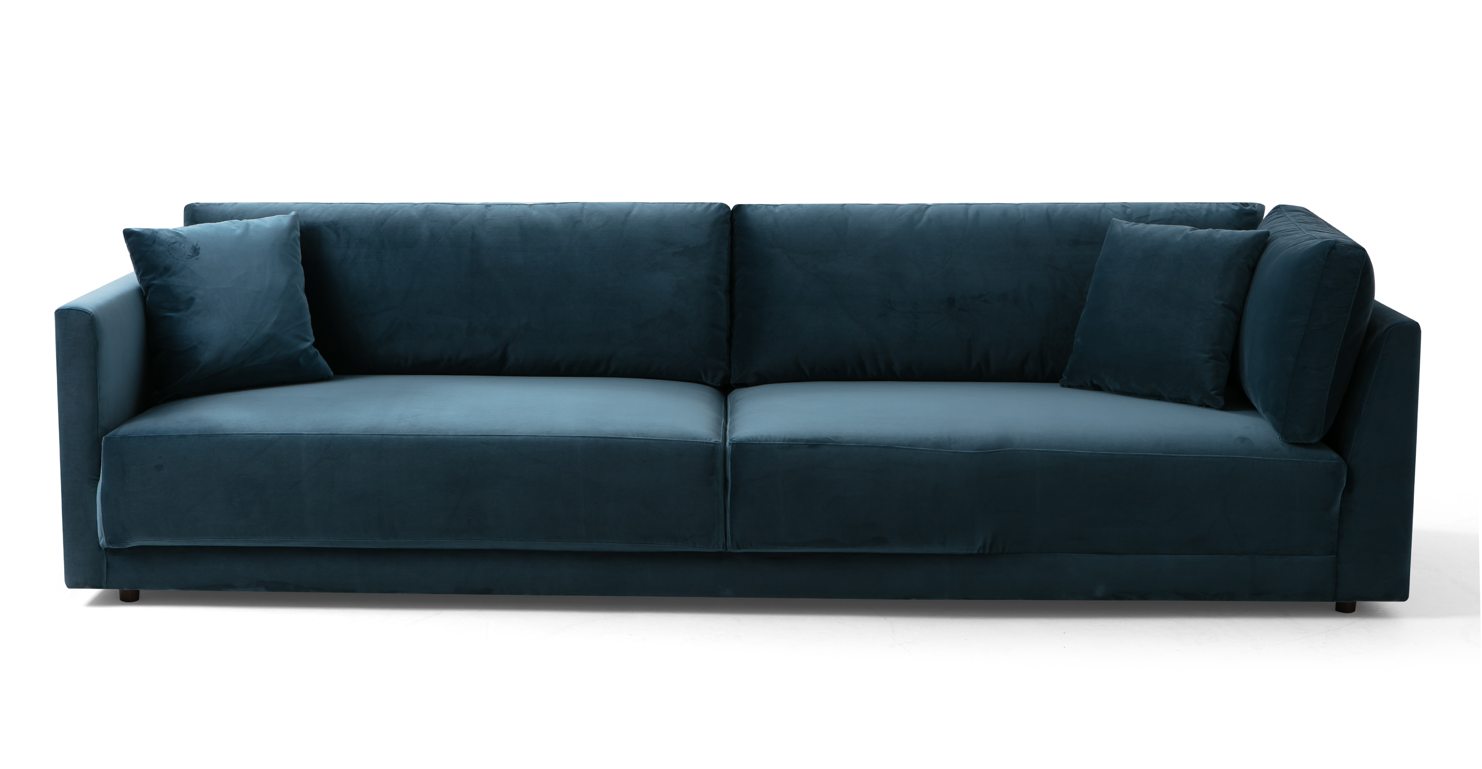 "Domus 114"" Fabric Sofa Lounge Arm Right, Petrol Velvet"