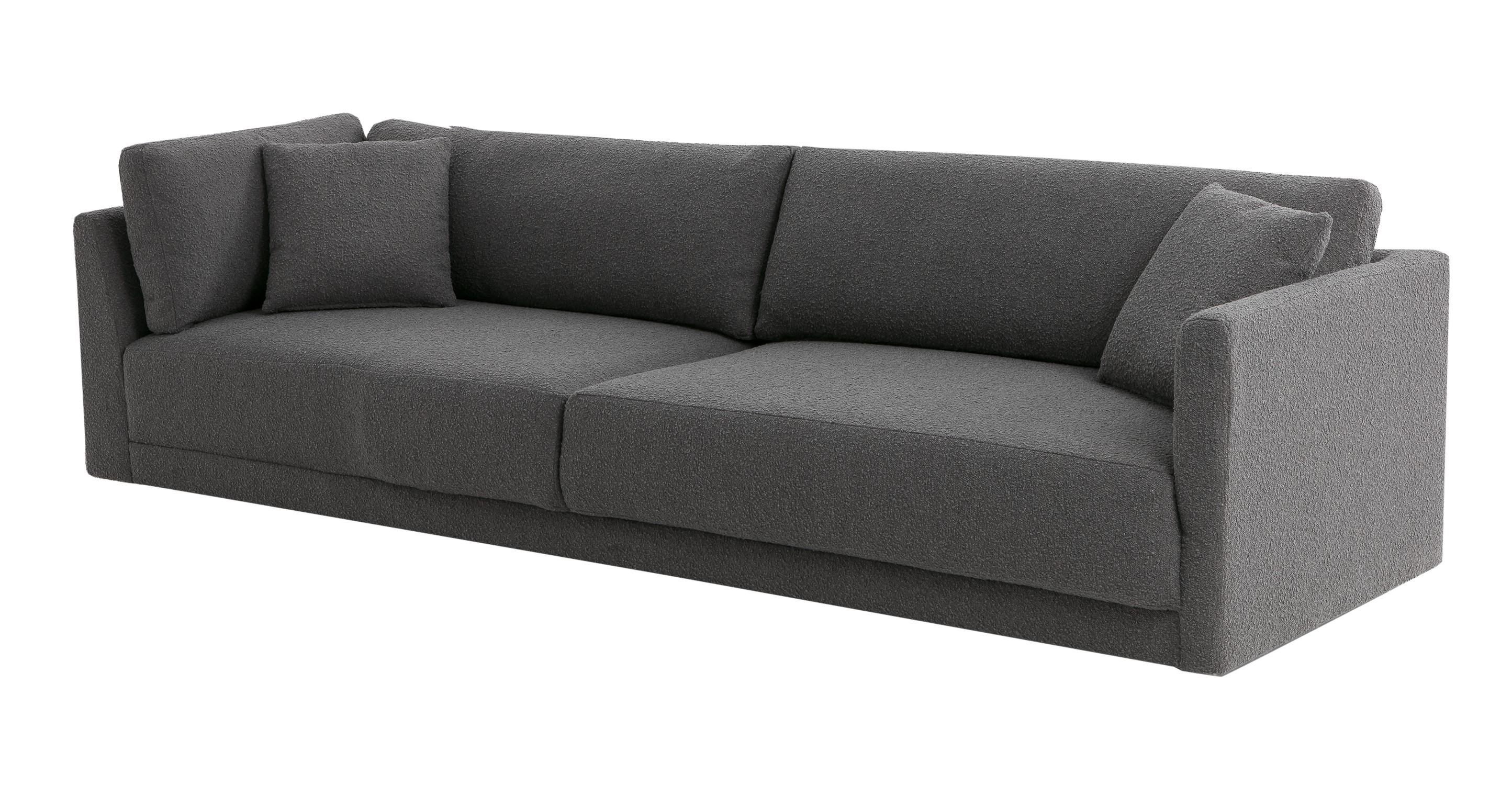 """Domus 114"""" Fabric Sofa Lounge Arm Left, Gris Boucle"""