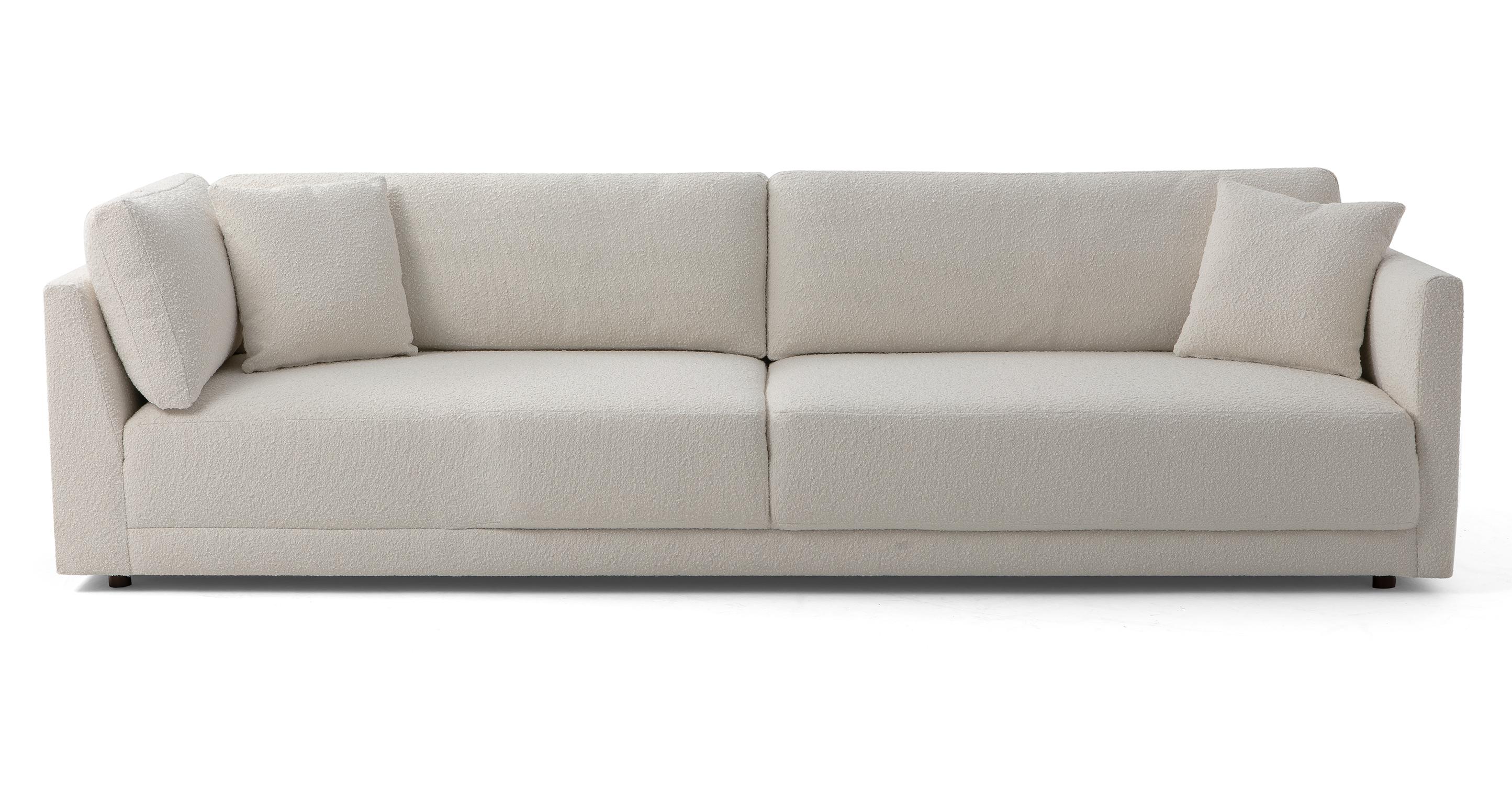 "Domus 114"" Fabric Sofa Lounge Arm Left, Blanc Boucle"