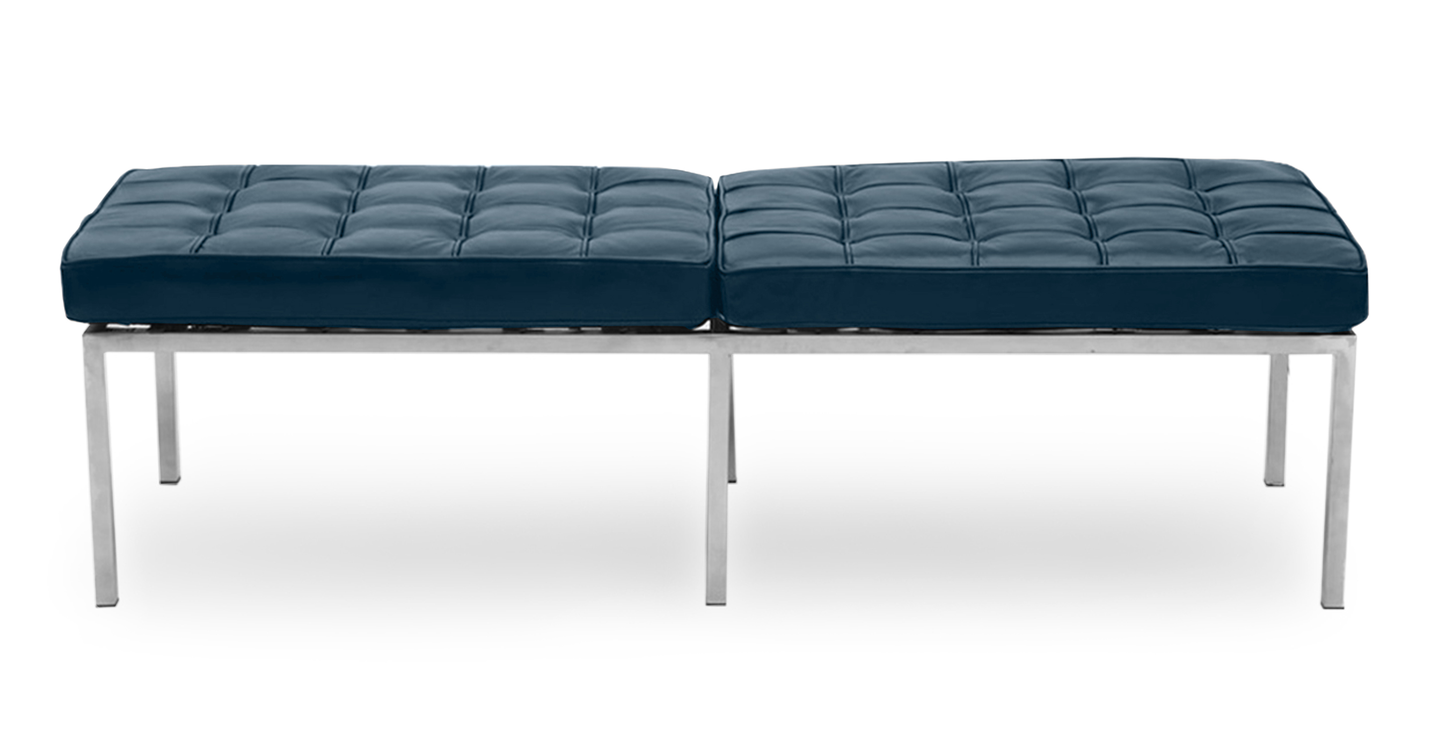 "Florence 60"" Leather Bench, Blue Aniline"