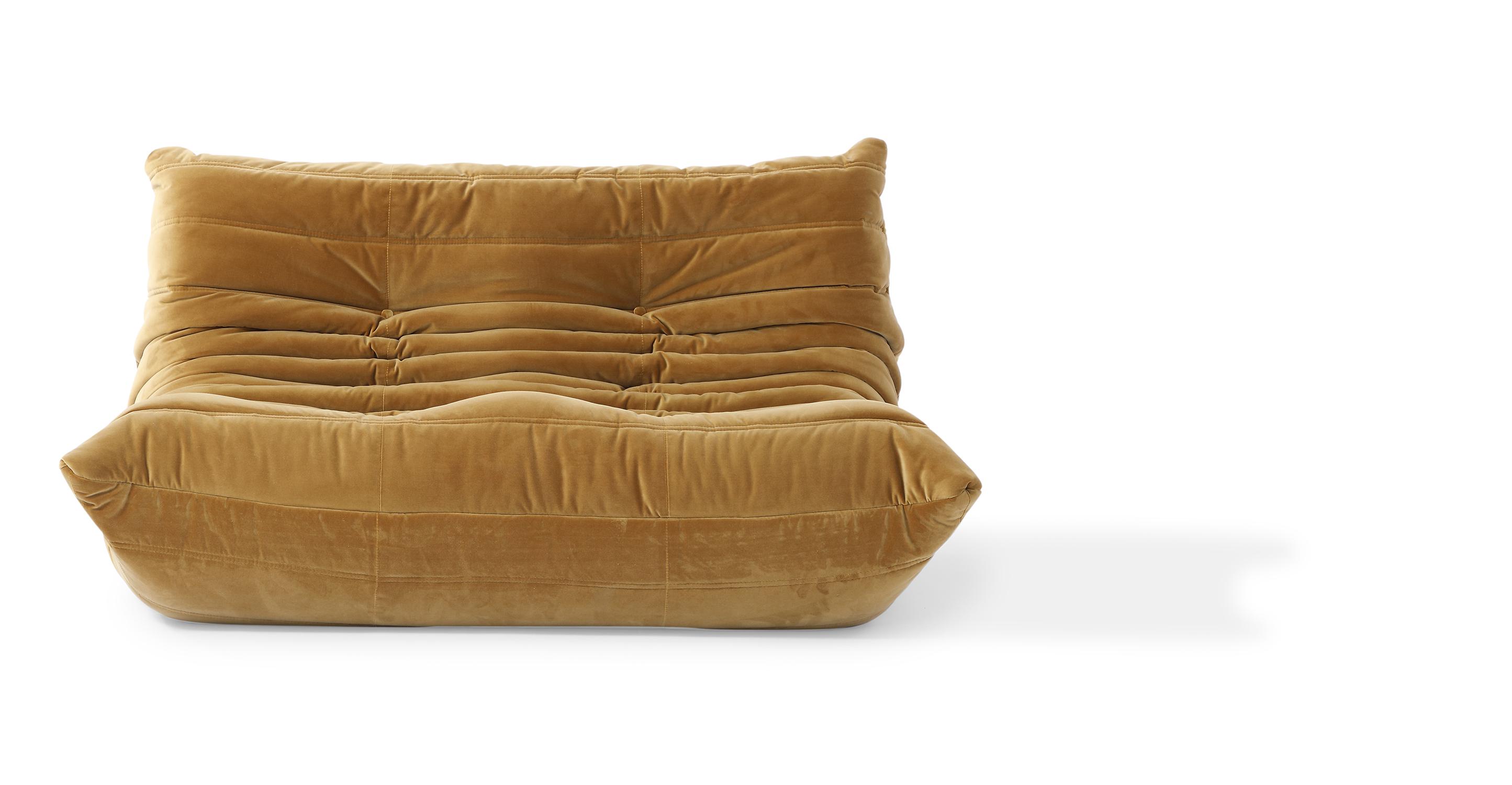 "Louvre 53"" Fabric 2-Seat Sofa, Merigold Velvet"