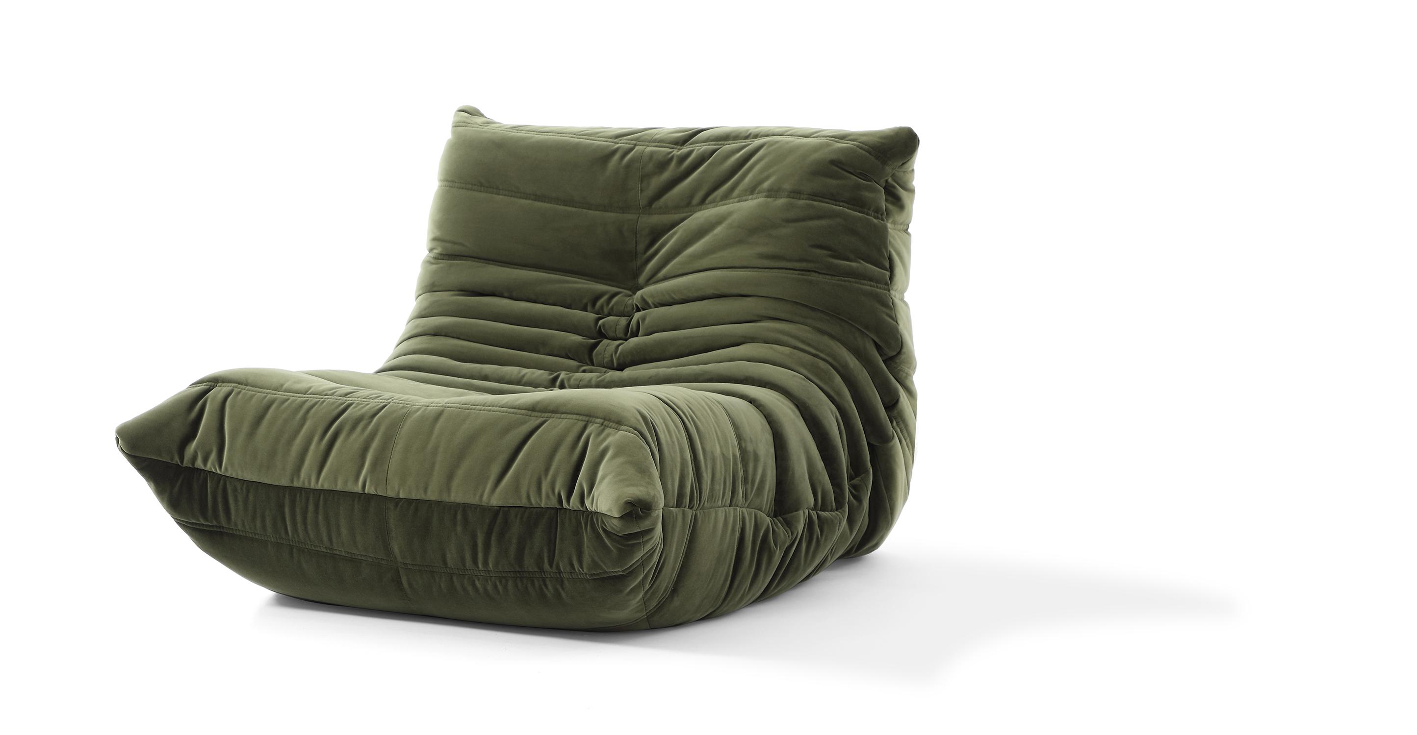 """Louvre 35"""" Fabric Chair, Fern Velvet"""