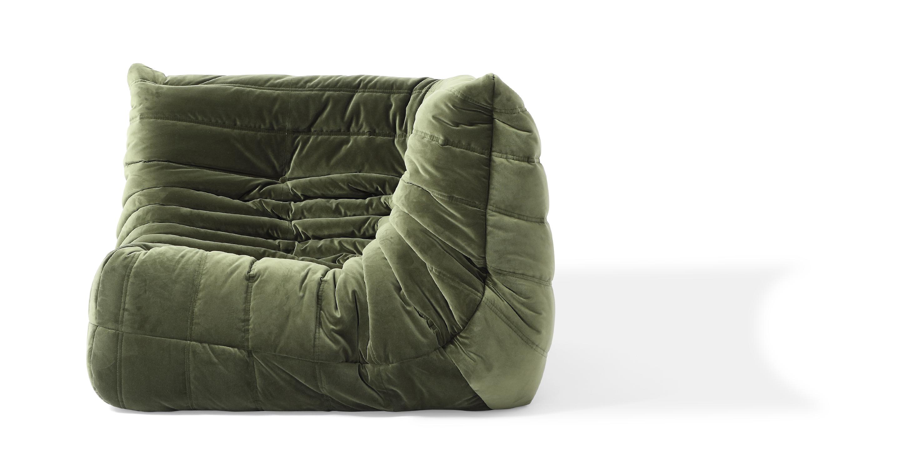 """Louvre 40"""" Fabric Corner Chair, Fern Velvet"""