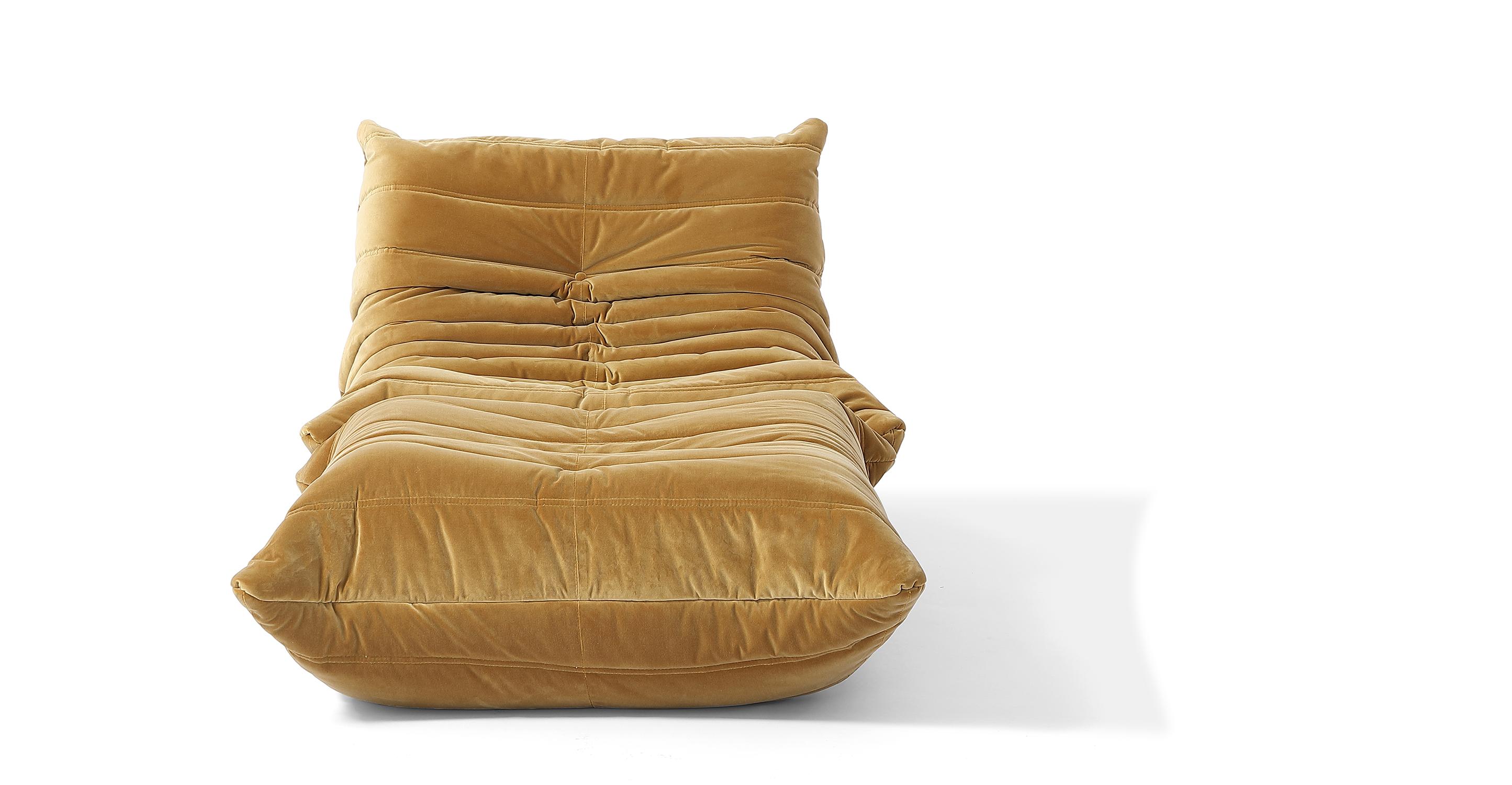Louvre Fabric Chair & Ottoman, Merigold Velvet