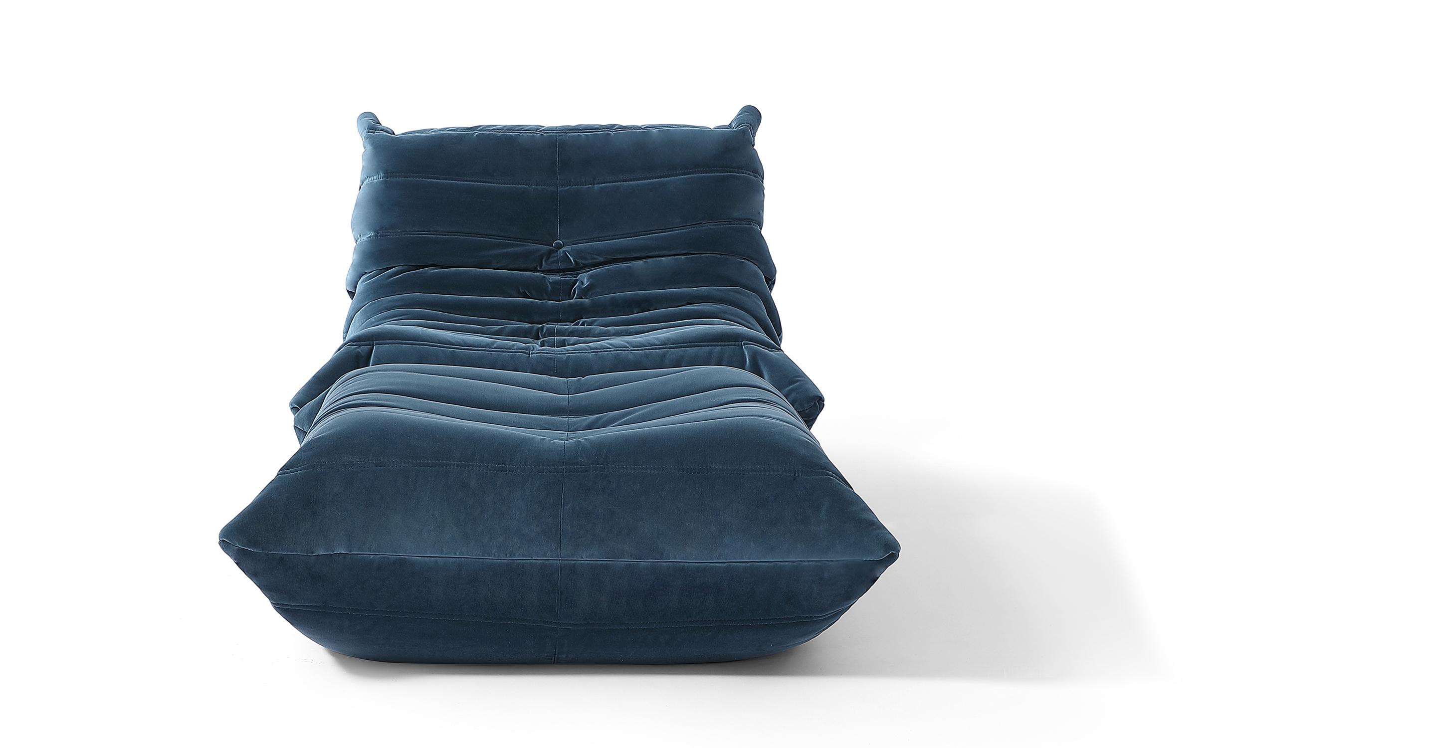 Louvre Fabric Chair & Ottoman, Petrol Velvet