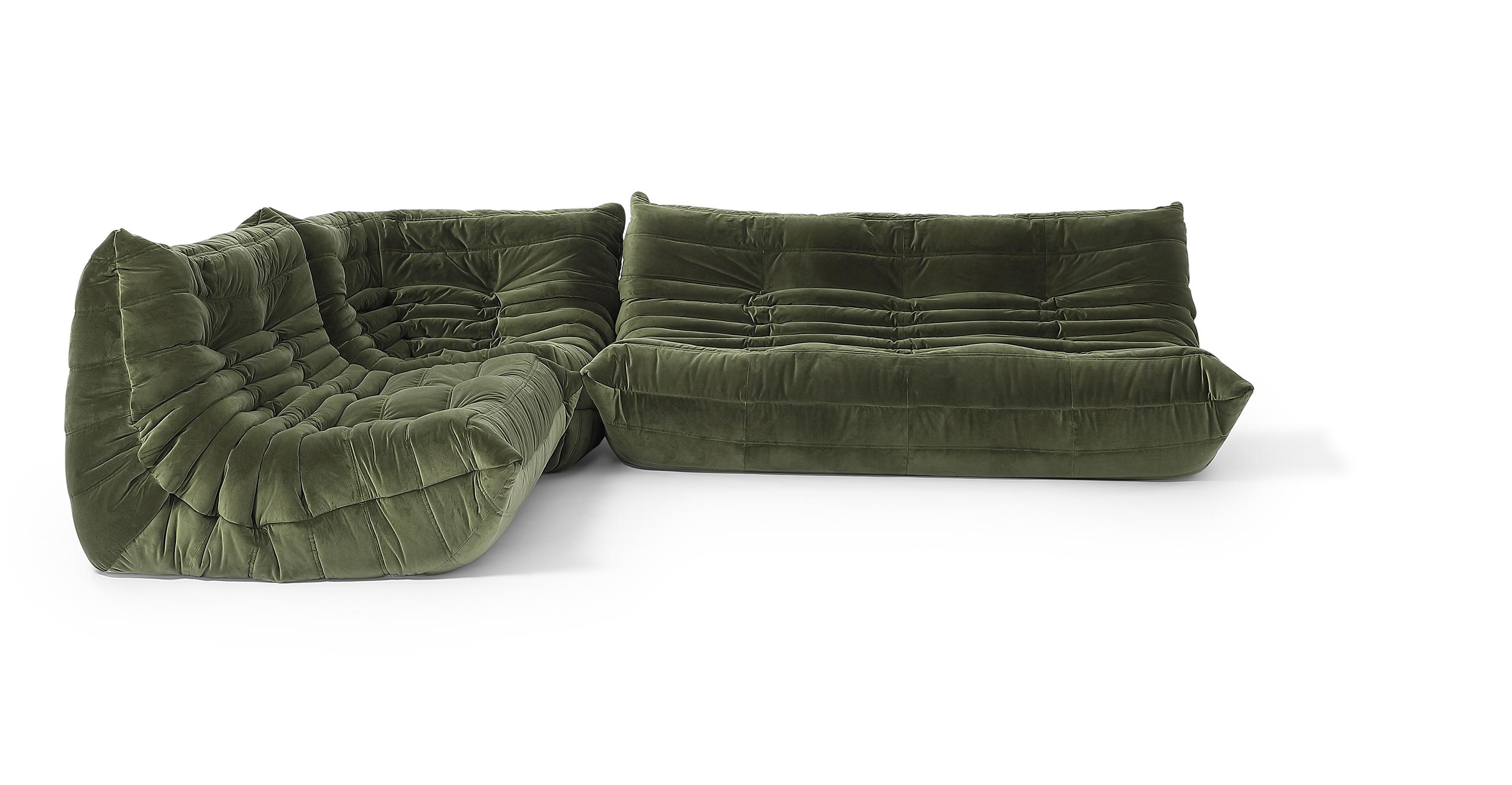 """Louvre Modular 110"""" Mona 3-pc Fabric Sofa, Fern Velvet"""