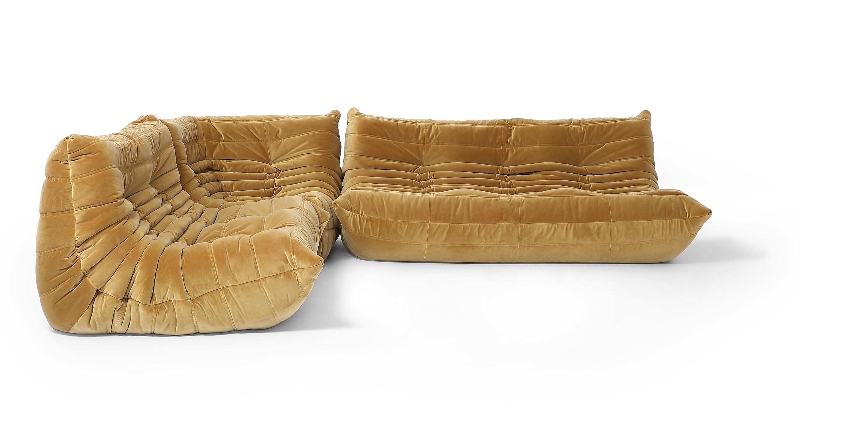 "Louvre Modular 110"" Mona 3-pc Fabric Sofa, Merigold Velvet"