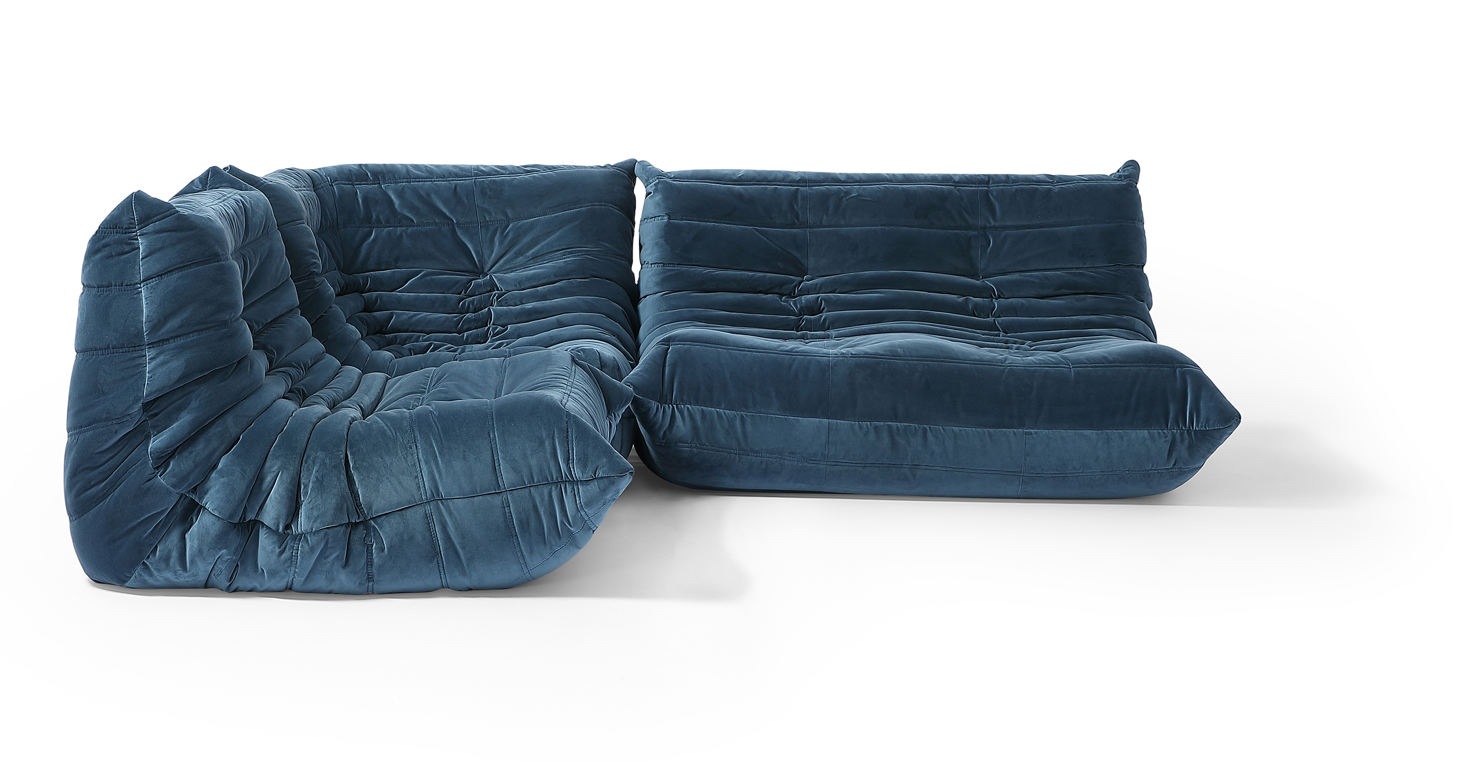"Louvre Modular 93"" Nikki 3-pc Fabric Sofa, Petrol Velvet"