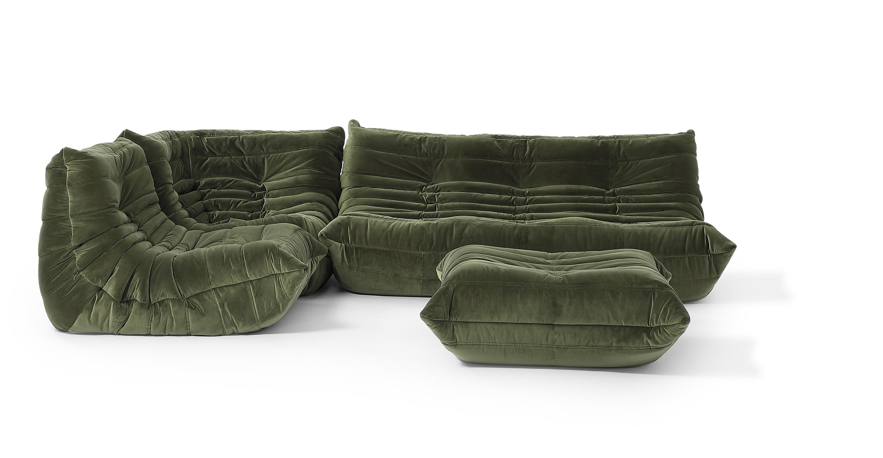 "Louvre Modular 110"" Venus 4-pc Fabric Sofa, Fern Velvet"