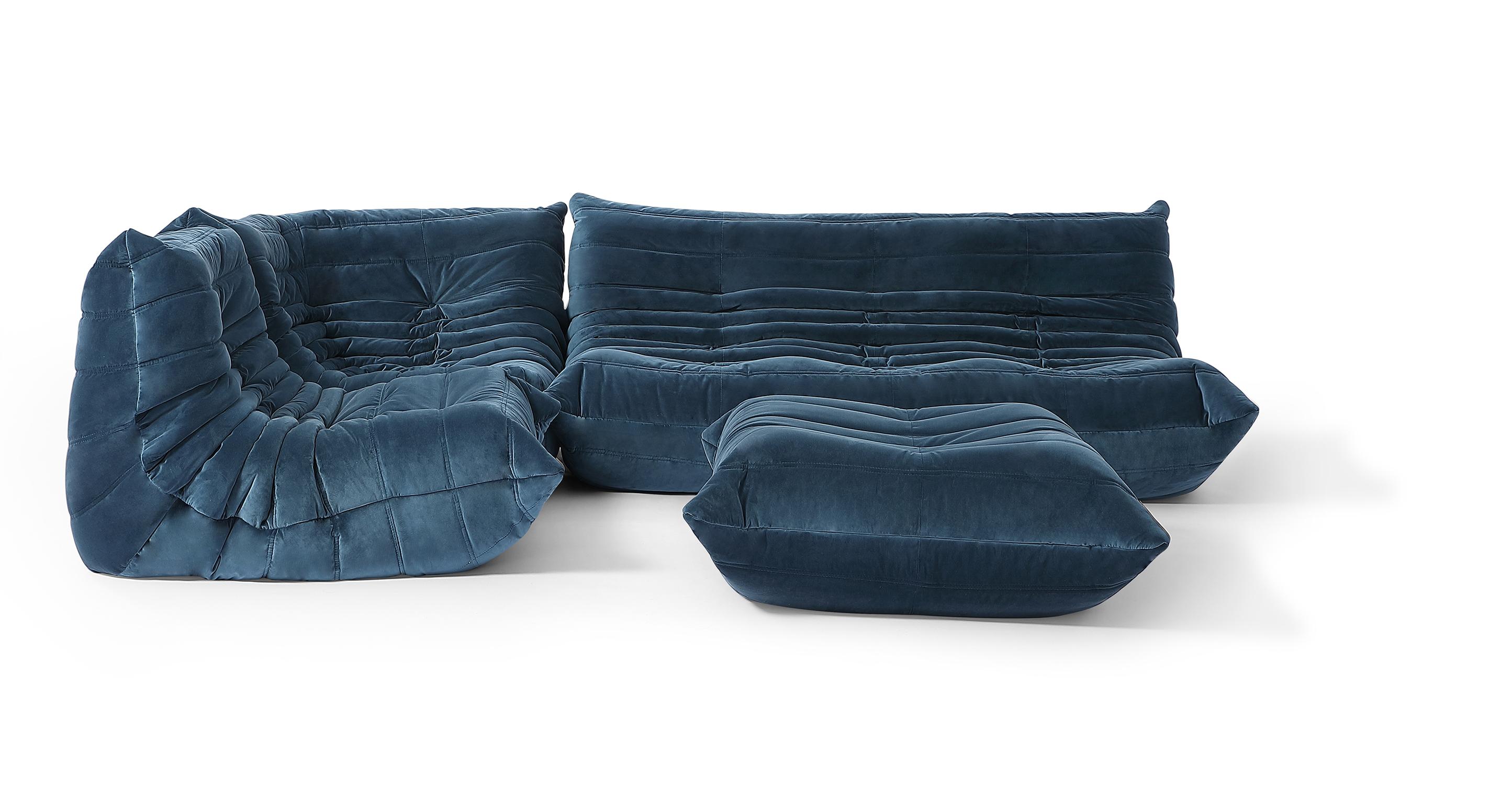 "Louvre Modular 110"" Venus 4-pc Fabric Sofa, Petrol Velvet"