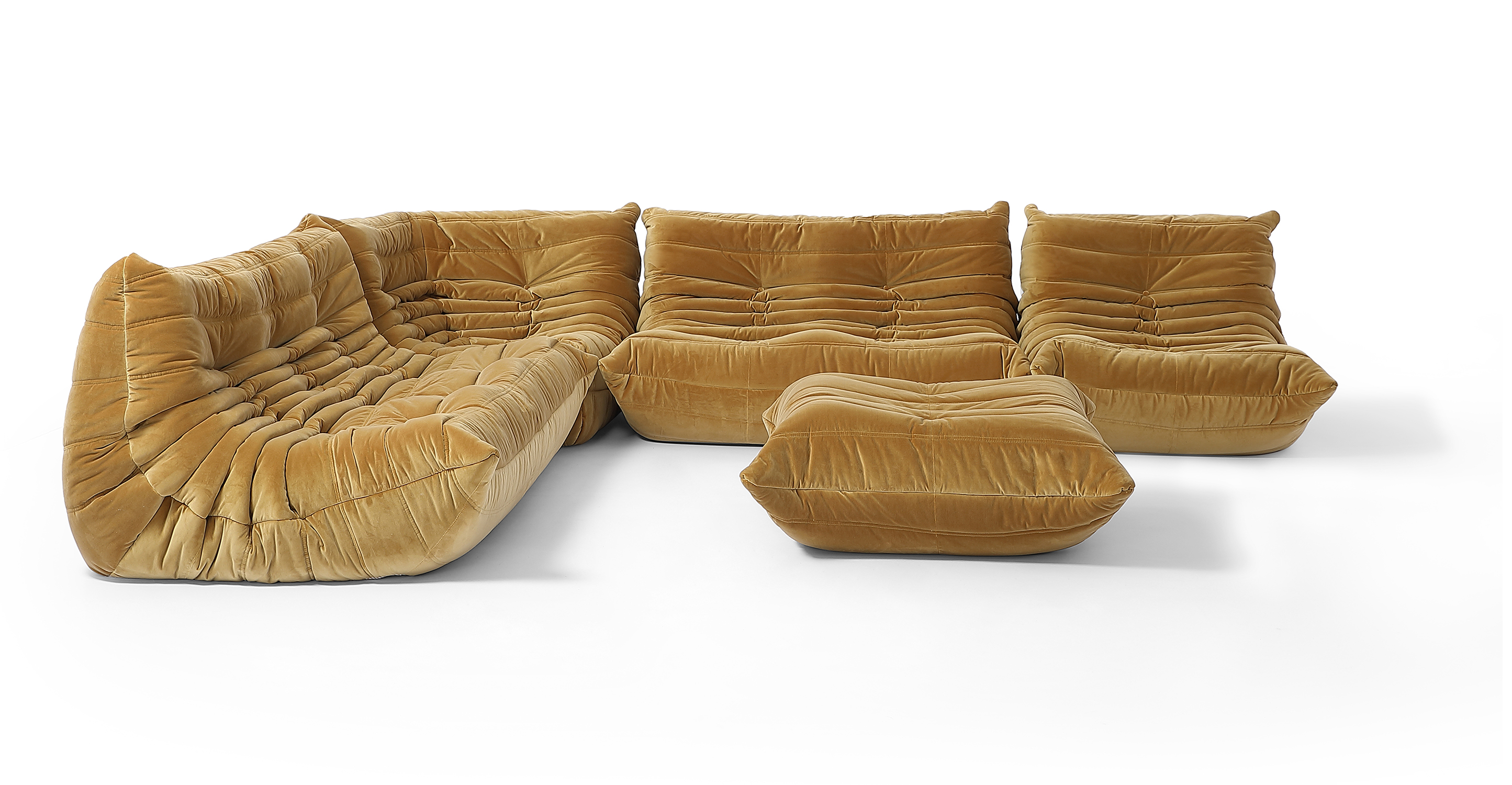 "Louvre Modular 128"" Amour 5-pc Fabric Sofa, Merigold Velvet"