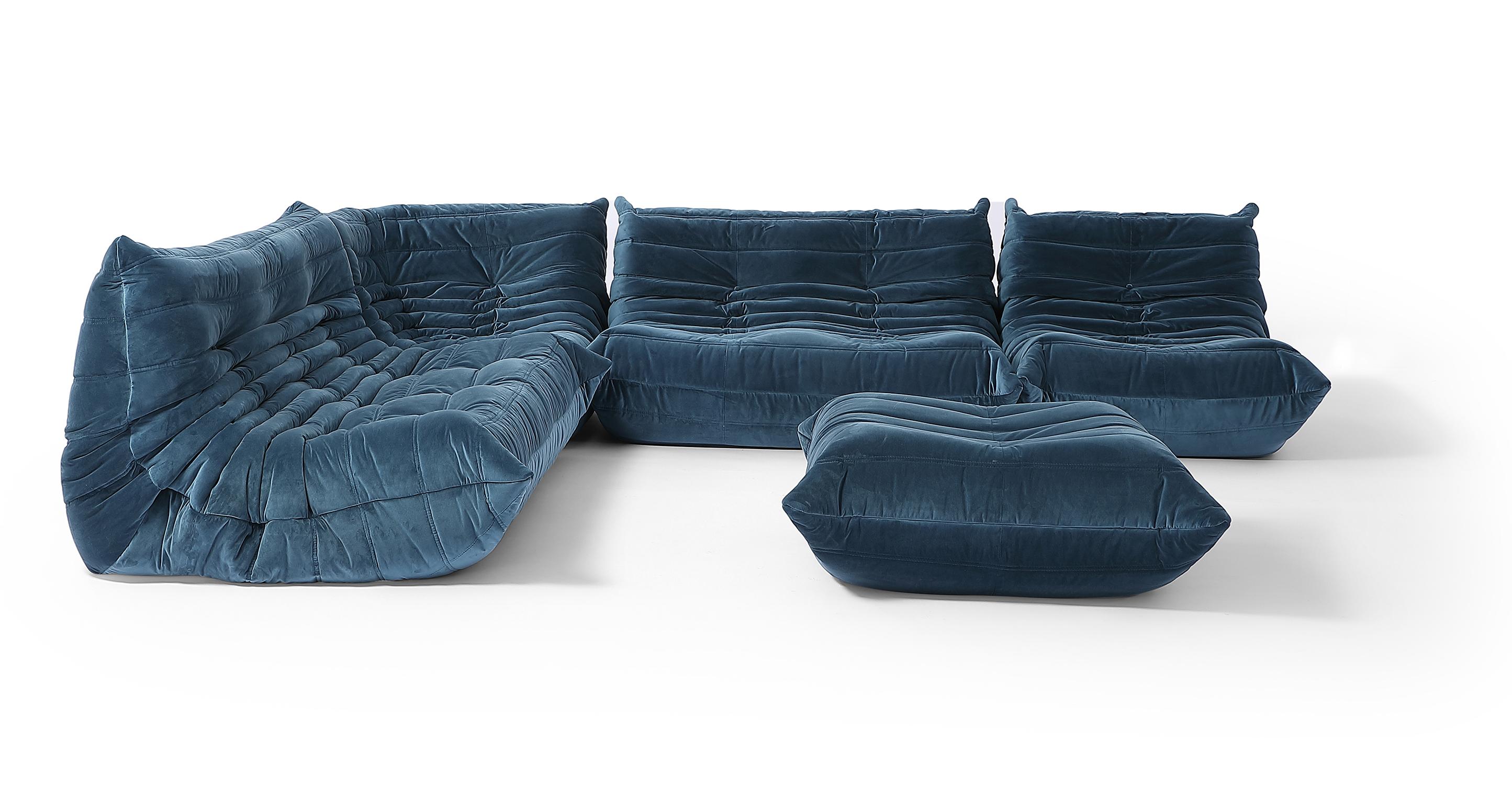 "Louvre Modular 128"" Amour 5-pc Fabric Sofa, Petrol Velvet"
