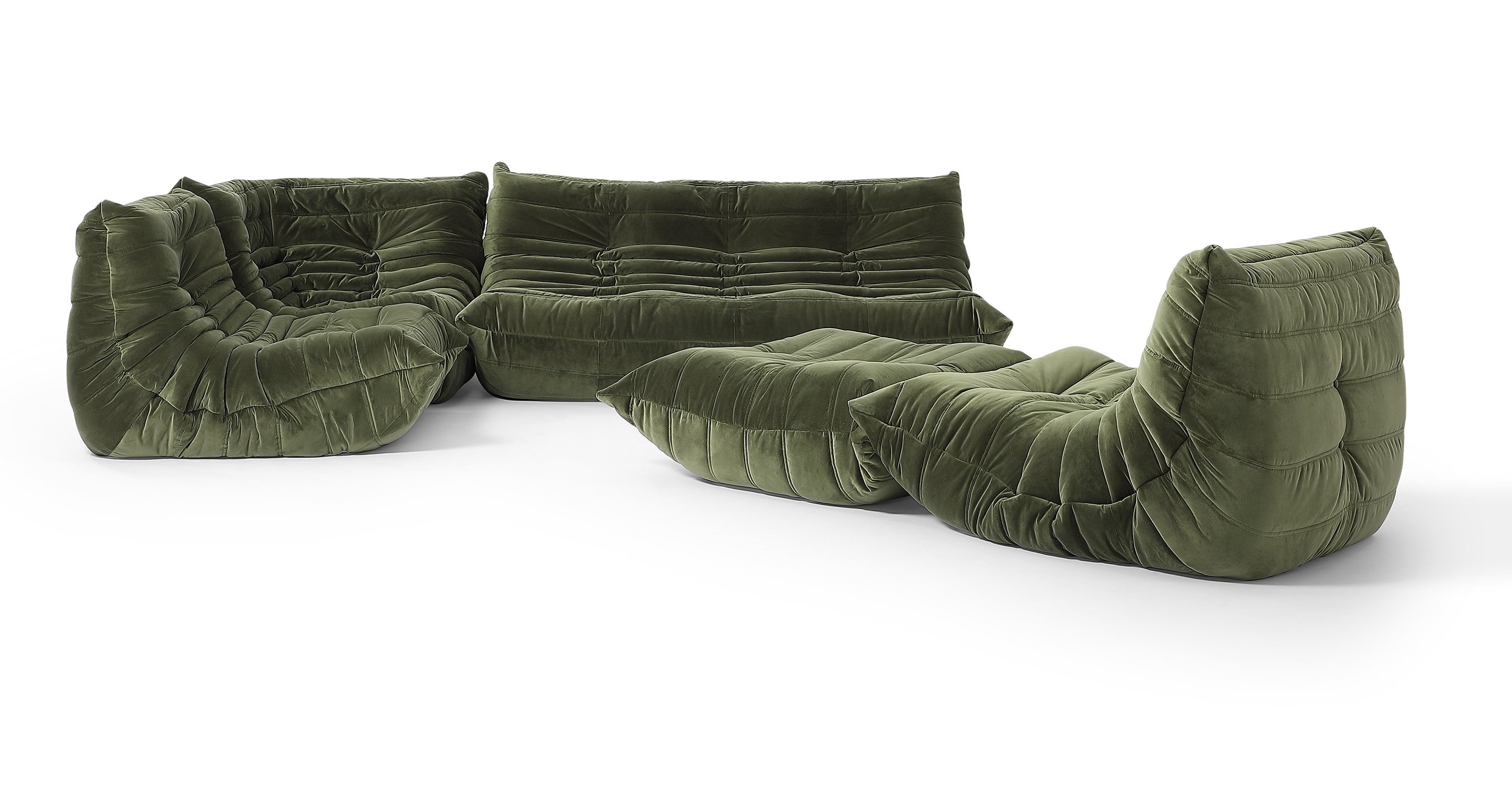 "Louvre Modular 110"" Milo 5-pc Fabric Sofa, Fern Velvet"